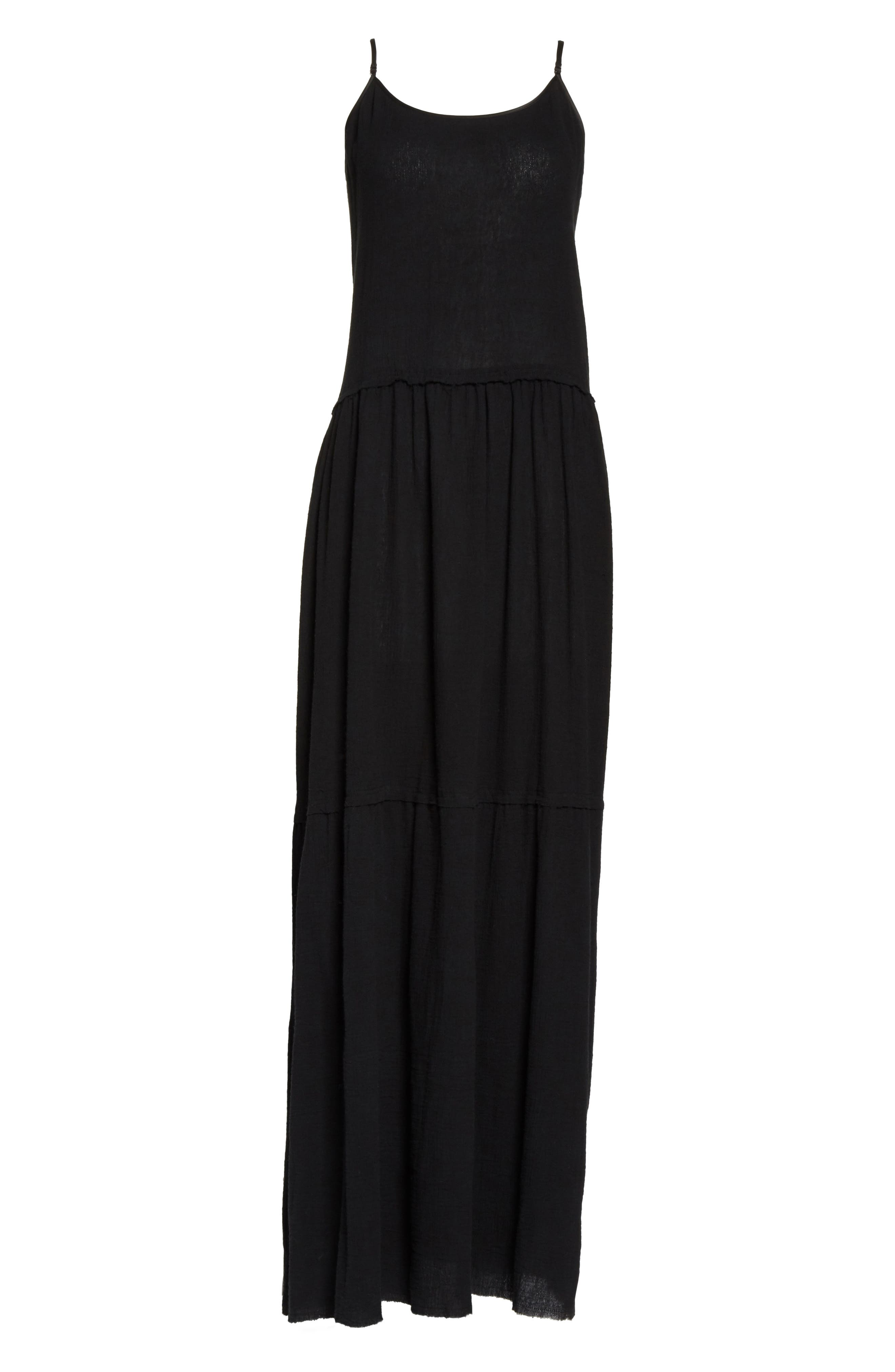 Tiered Maxi Dress,                             Alternate thumbnail 6, color,                             001