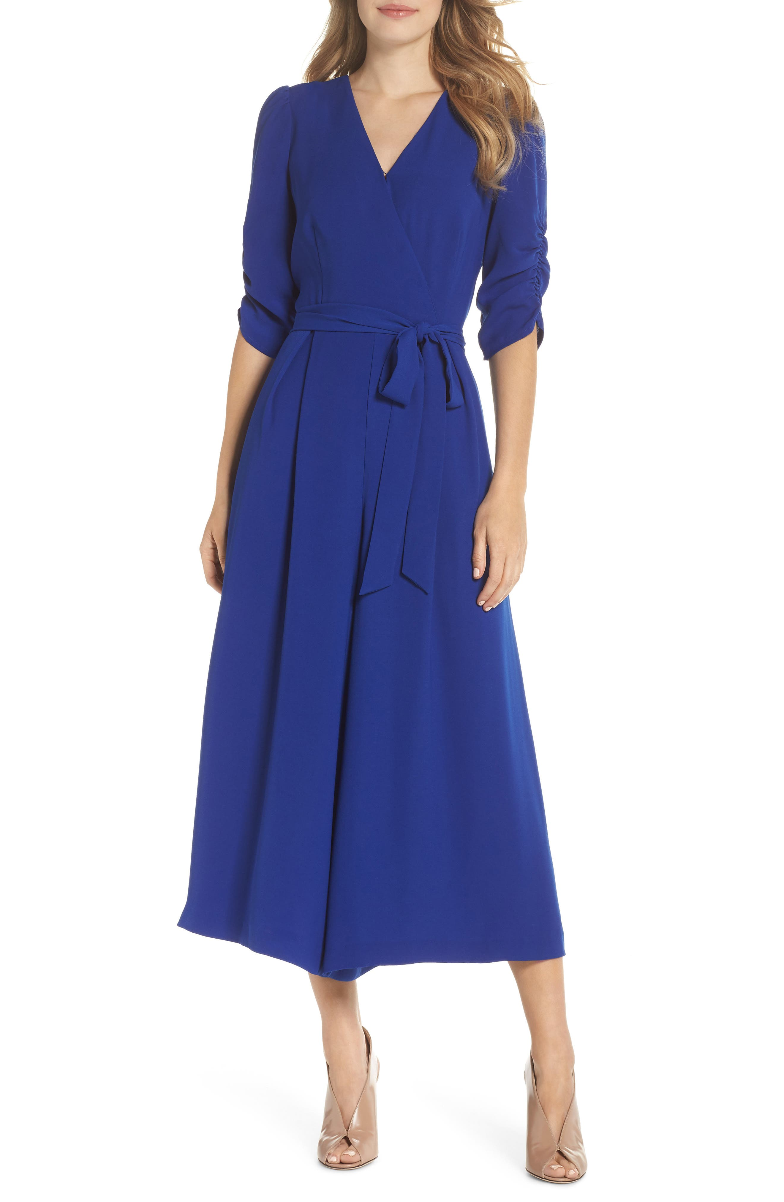 Ruched Sleeve Wide Leg Jumpsuit,                         Main,                         color, 430