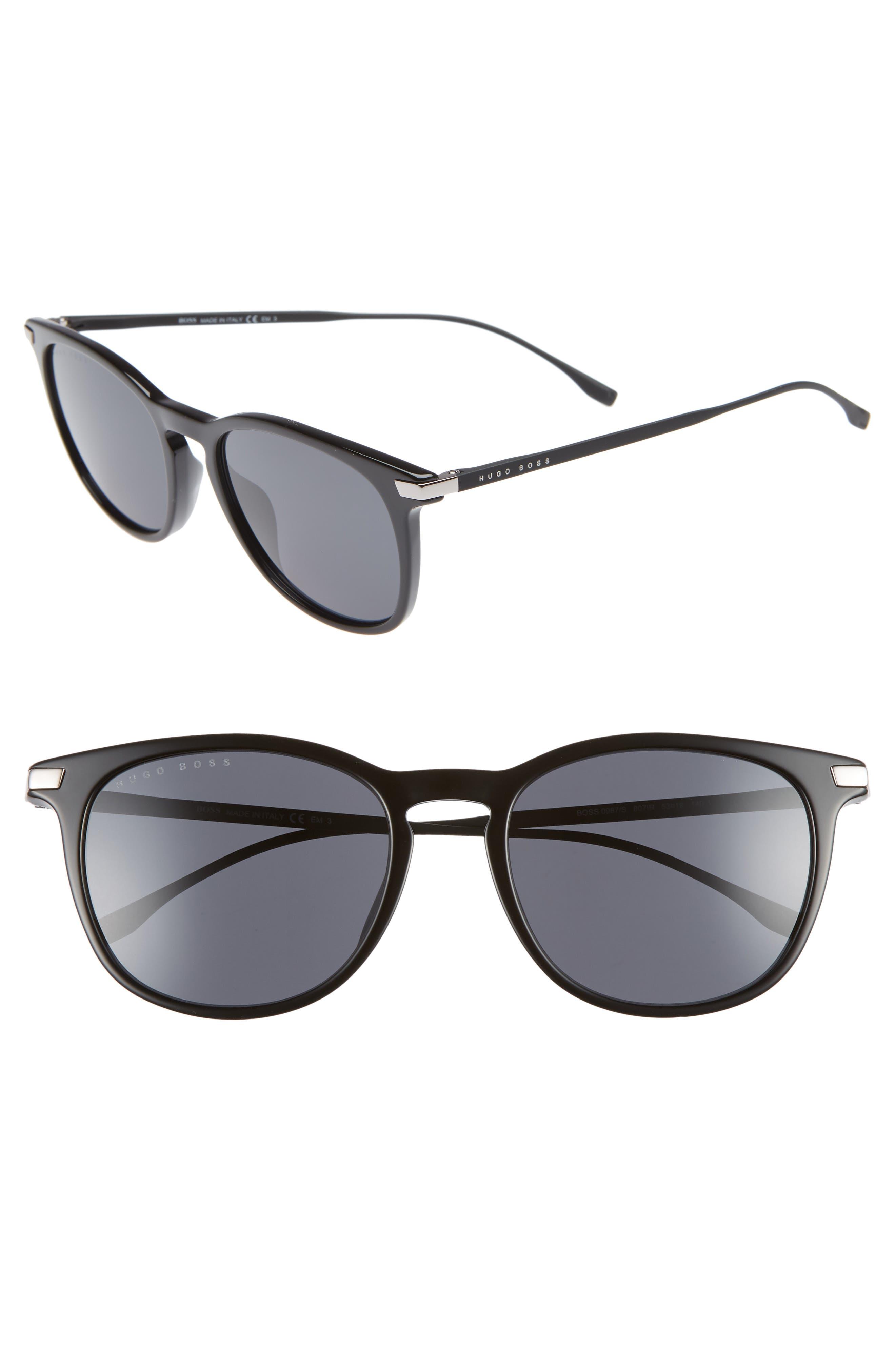 53mm Sunglasses,                         Main,                         color, BLACK