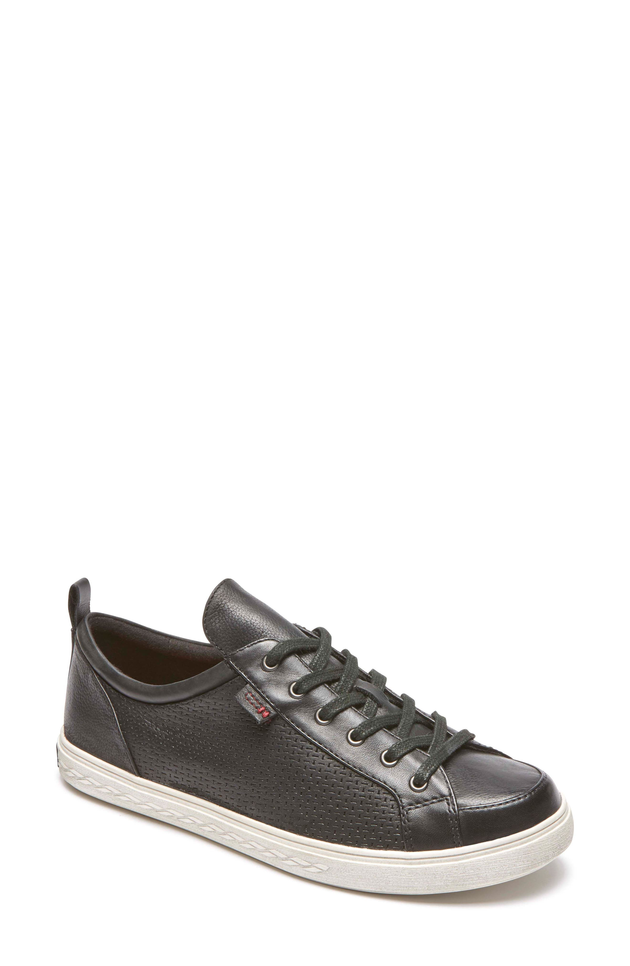 Willa Sneaker,                             Main thumbnail 1, color,                             BLACK LEATHER