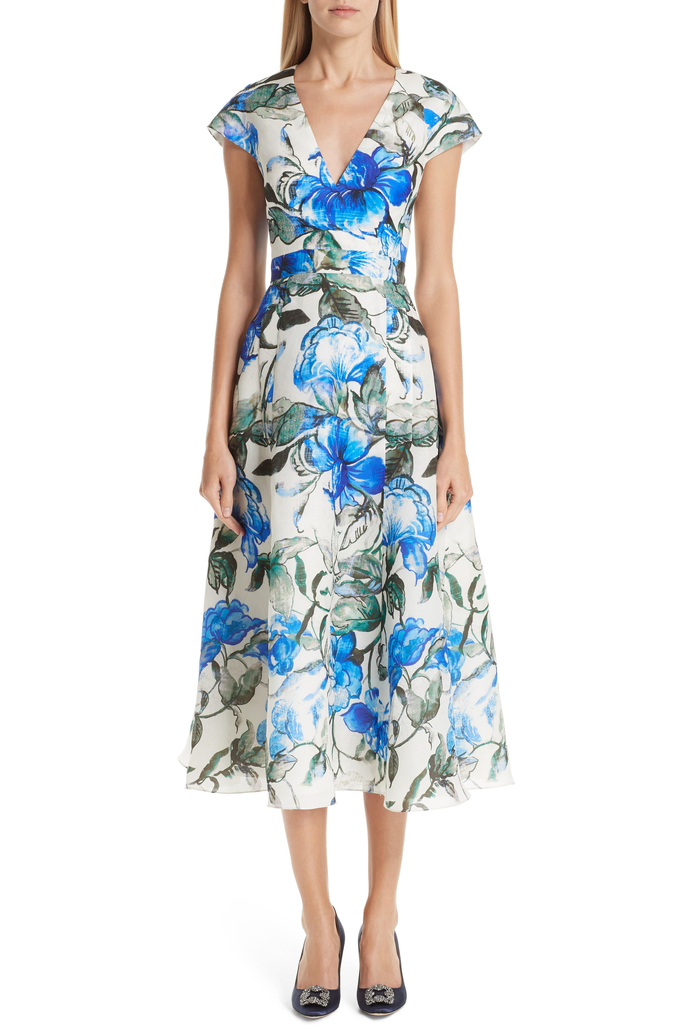 Carolina Herrera Floral Silk Midi Dress, Ivory