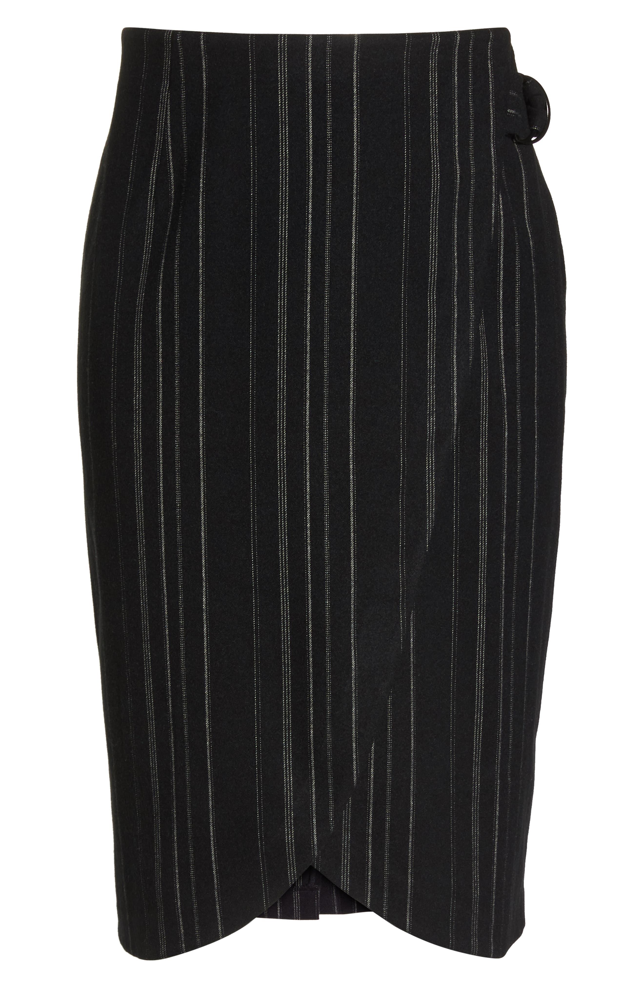 Side Tie Midi Skirt,                             Alternate thumbnail 6, color,                             001