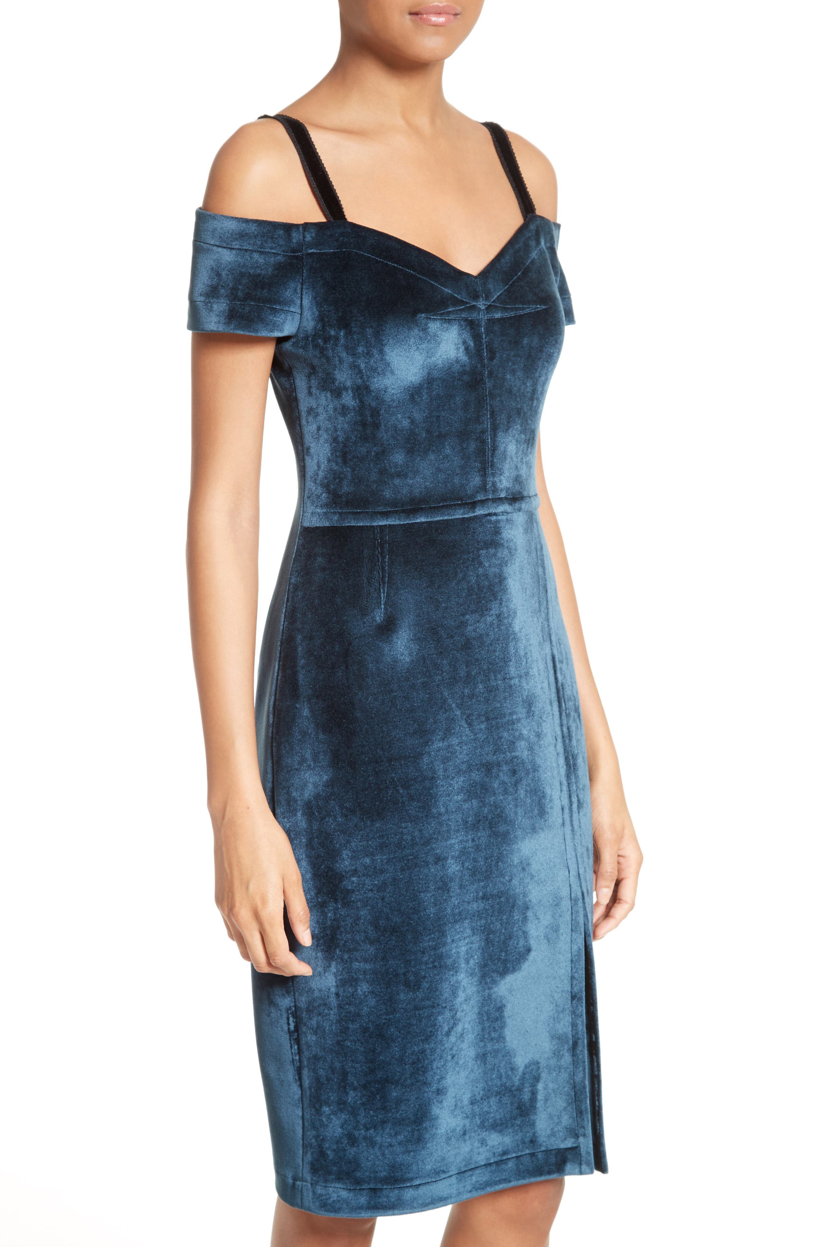Velvet Cold-Shoulder Dress,                             Alternate thumbnail 4, color,