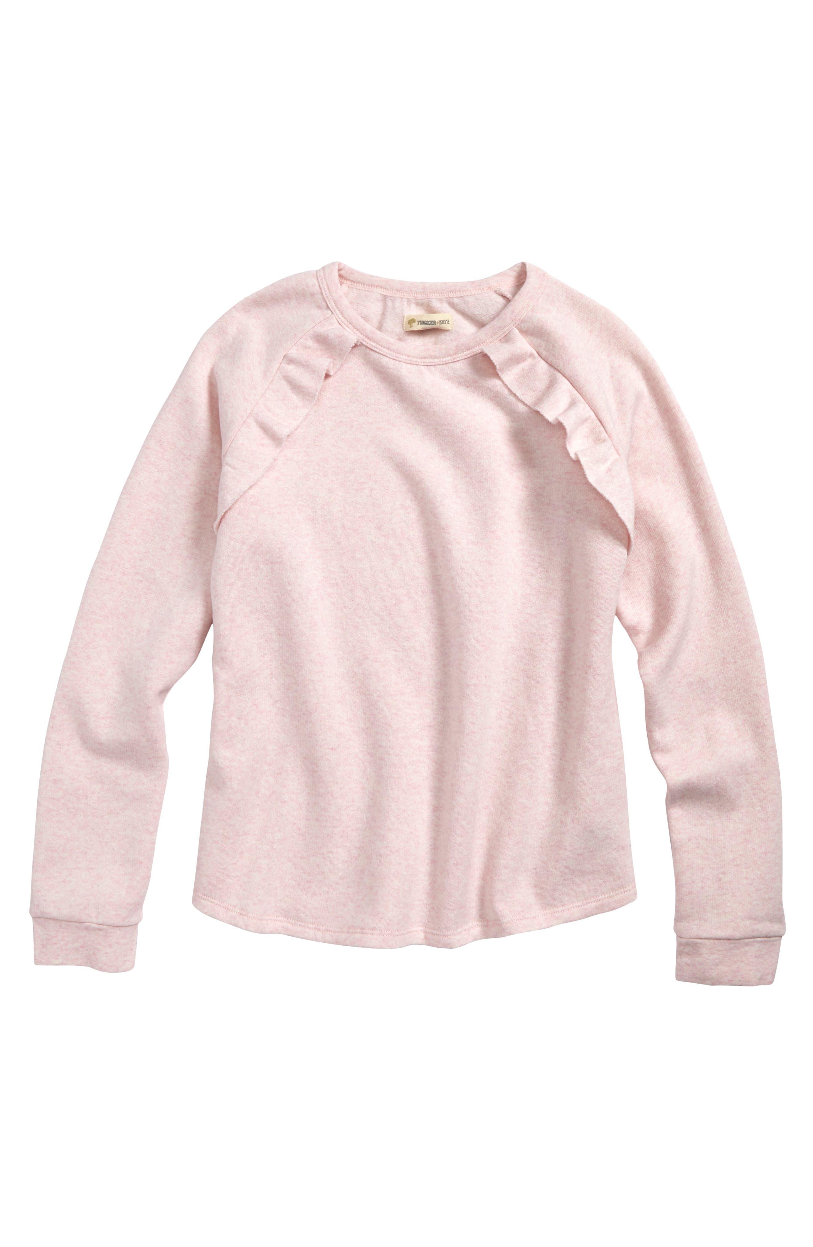 Ruffle Fleece Sweatshirt,                         Main,                         color, PINK BREATH HEATHER
