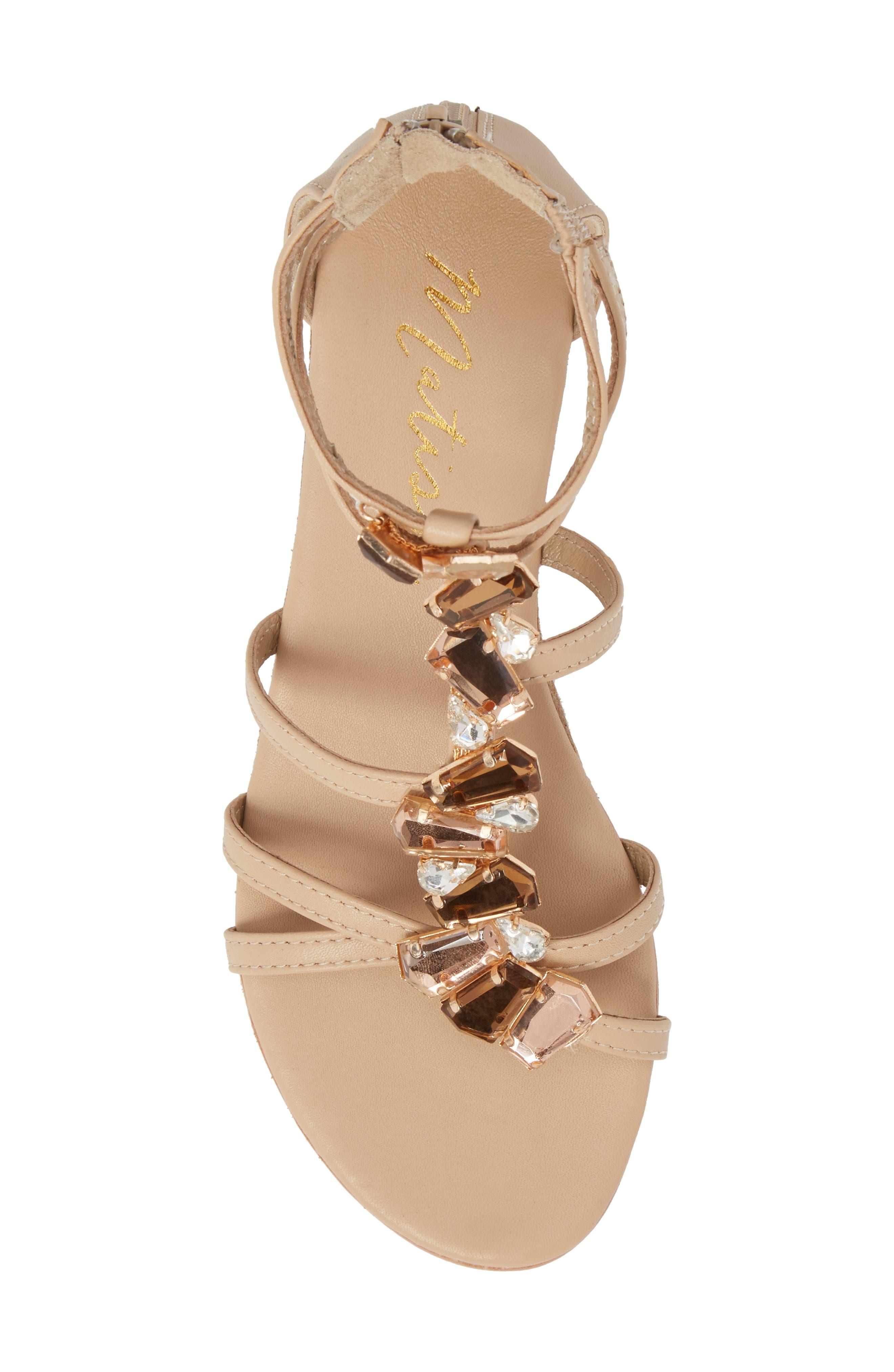 Didi Crystal Embellished Sandal,                             Alternate thumbnail 5, color,                             NATURAL LEATHER
