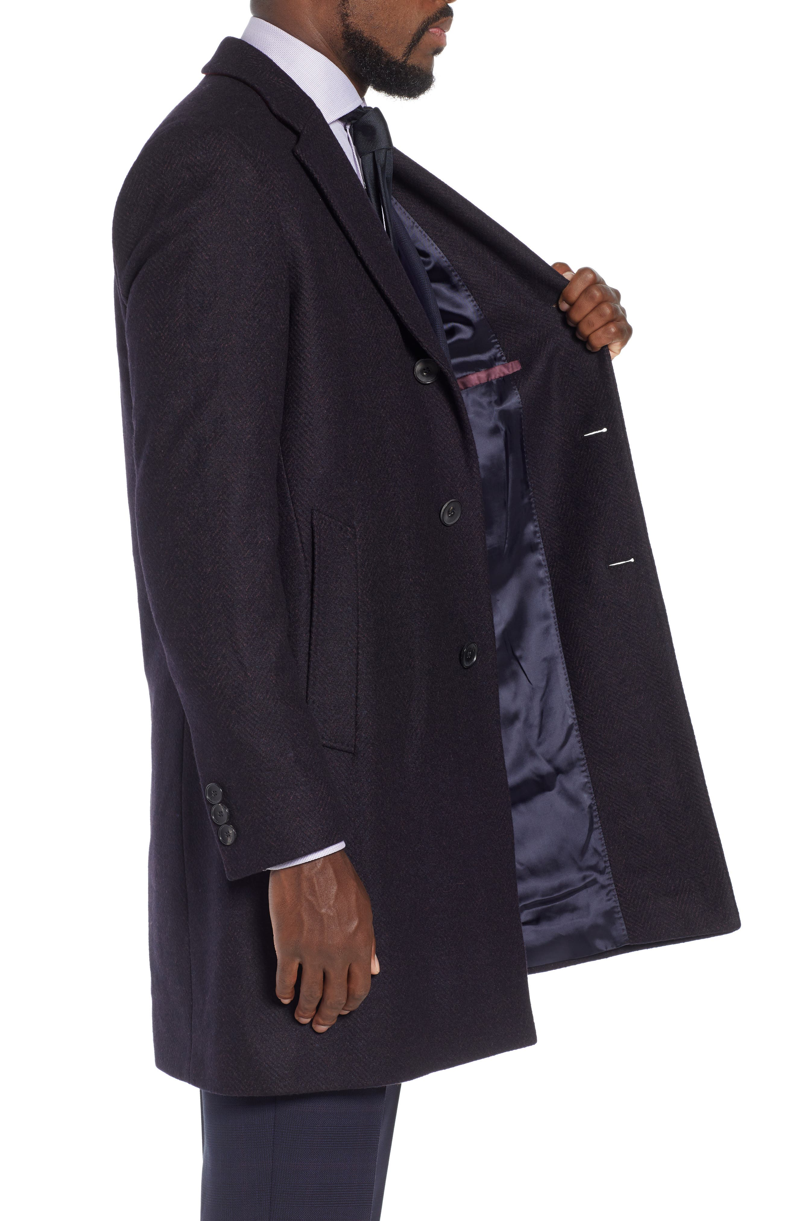 x Nordstrom Nye Wool Blend Top Coat,                             Alternate thumbnail 3, color,                             DARK RED