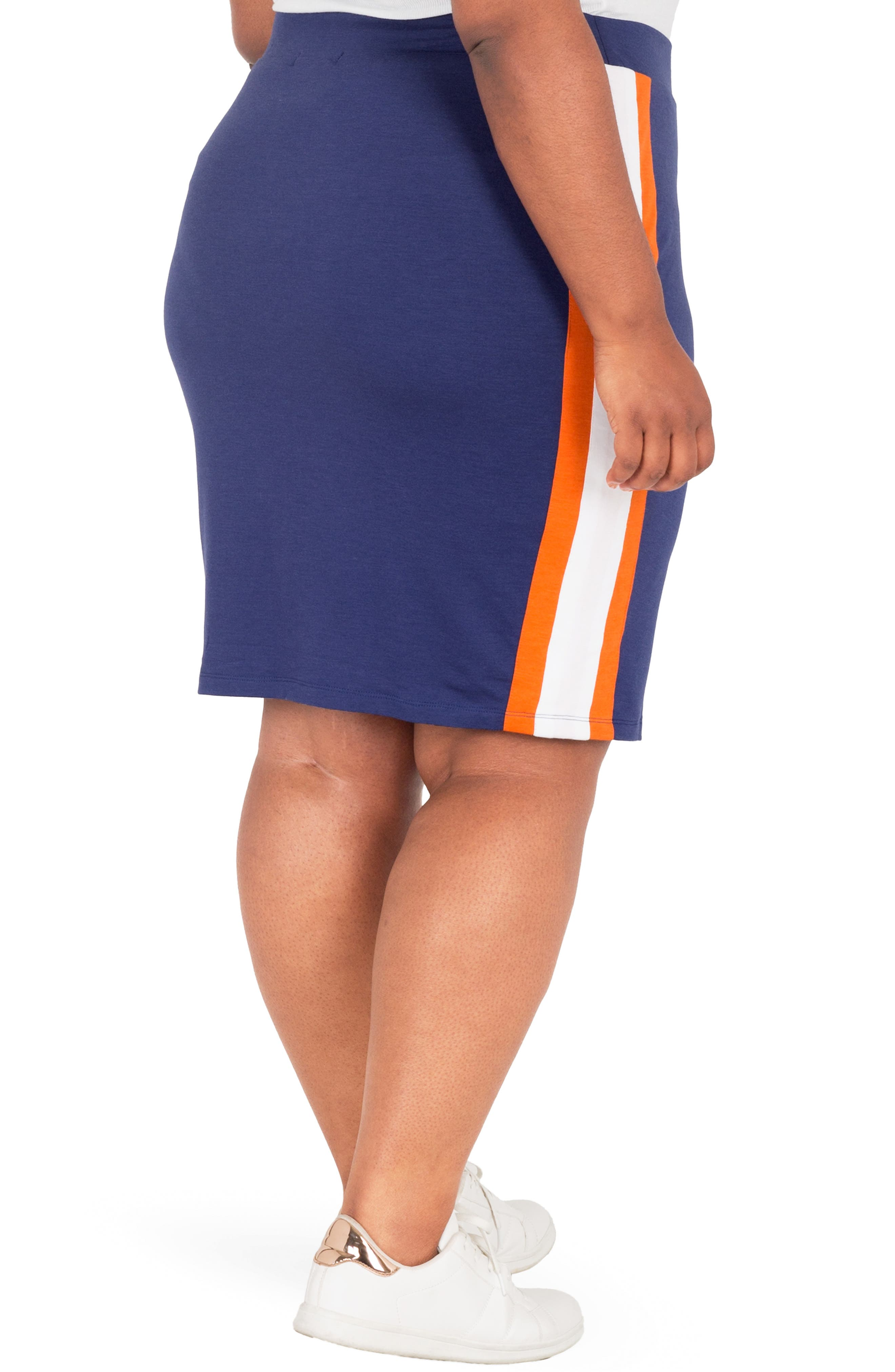 Wilma Lace-Up Pencil Skirt,                             Alternate thumbnail 2, color,                             NAVY