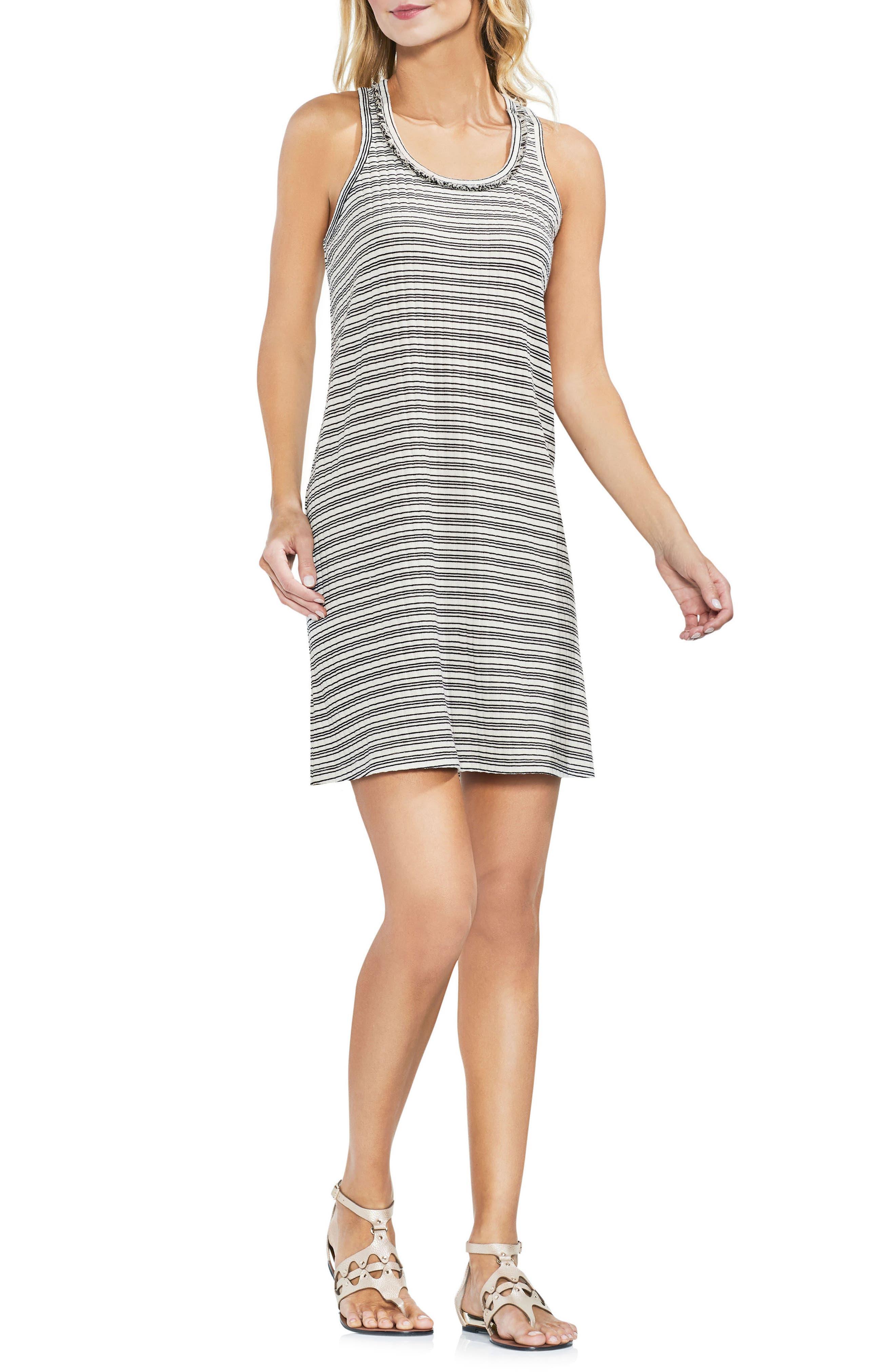 VINCE CAMUTO Ribbed Stripe Tank Dress, Main, color, 103