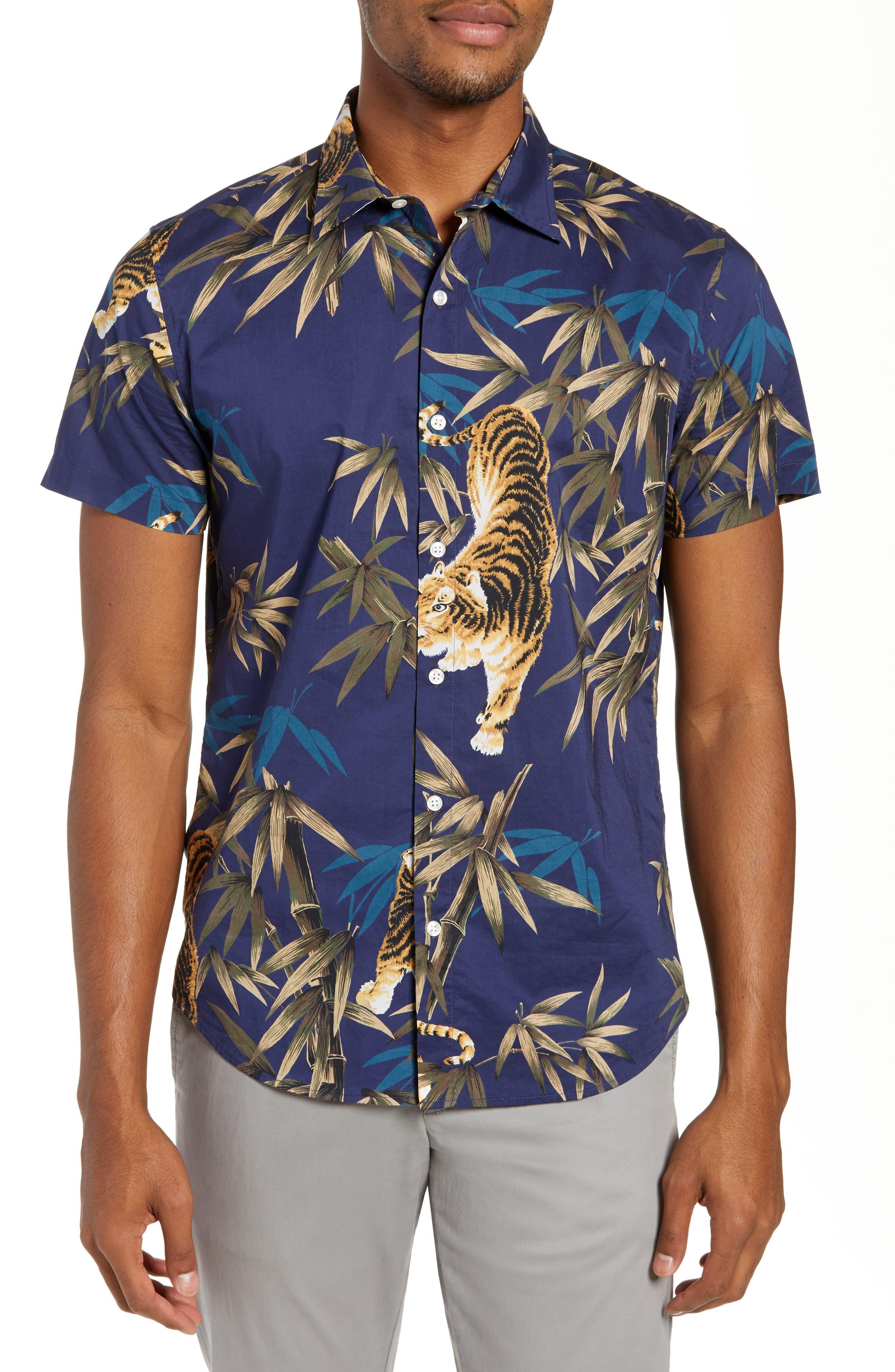 Riviera Slim Fit Tiger Print Sport Shirt,                             Main thumbnail 1, color,                             BAMBOO TIGER - VERDE