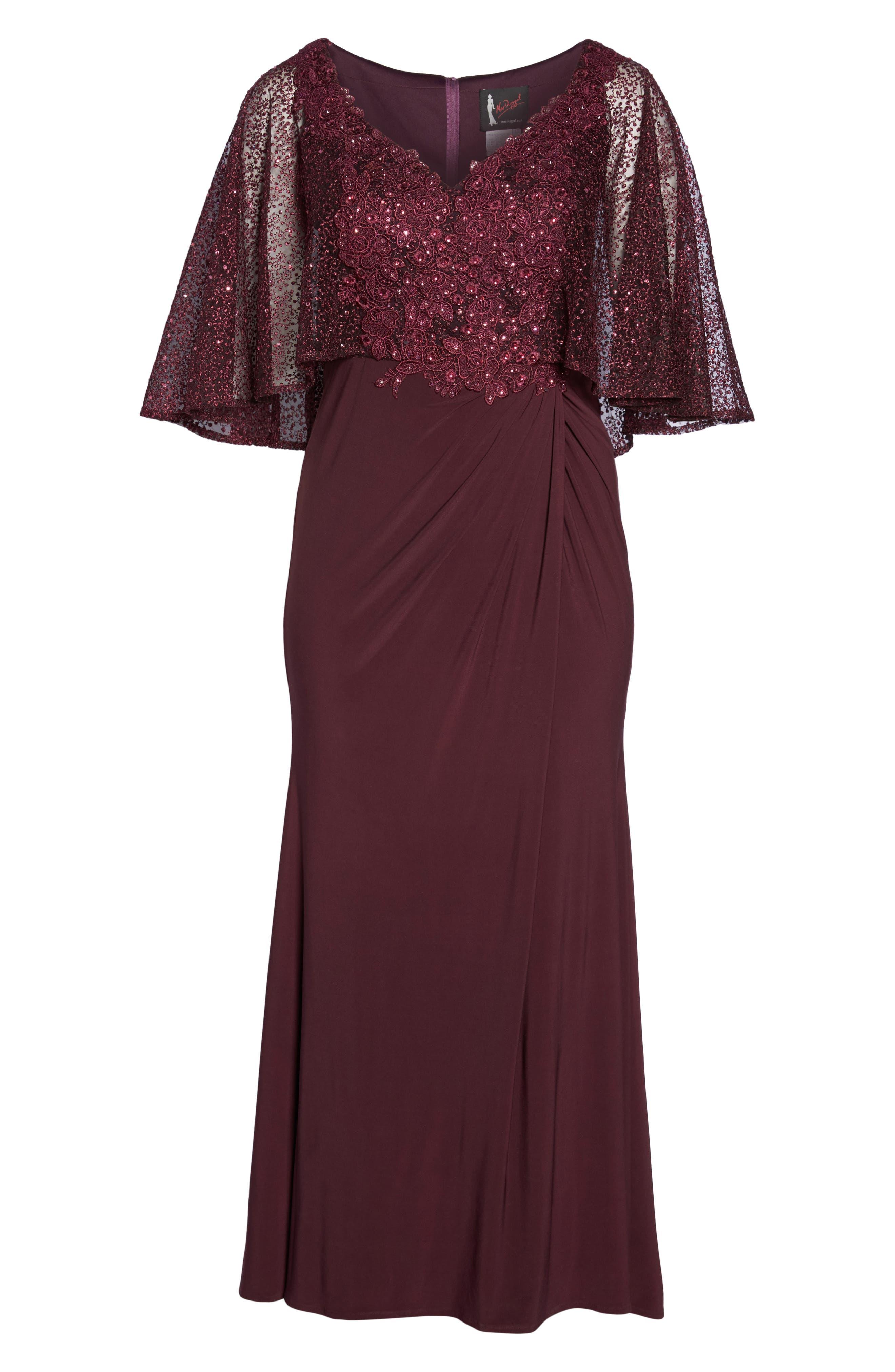 Lace Capelet Column Gown,                             Alternate thumbnail 6, color,                             BURGUNDY