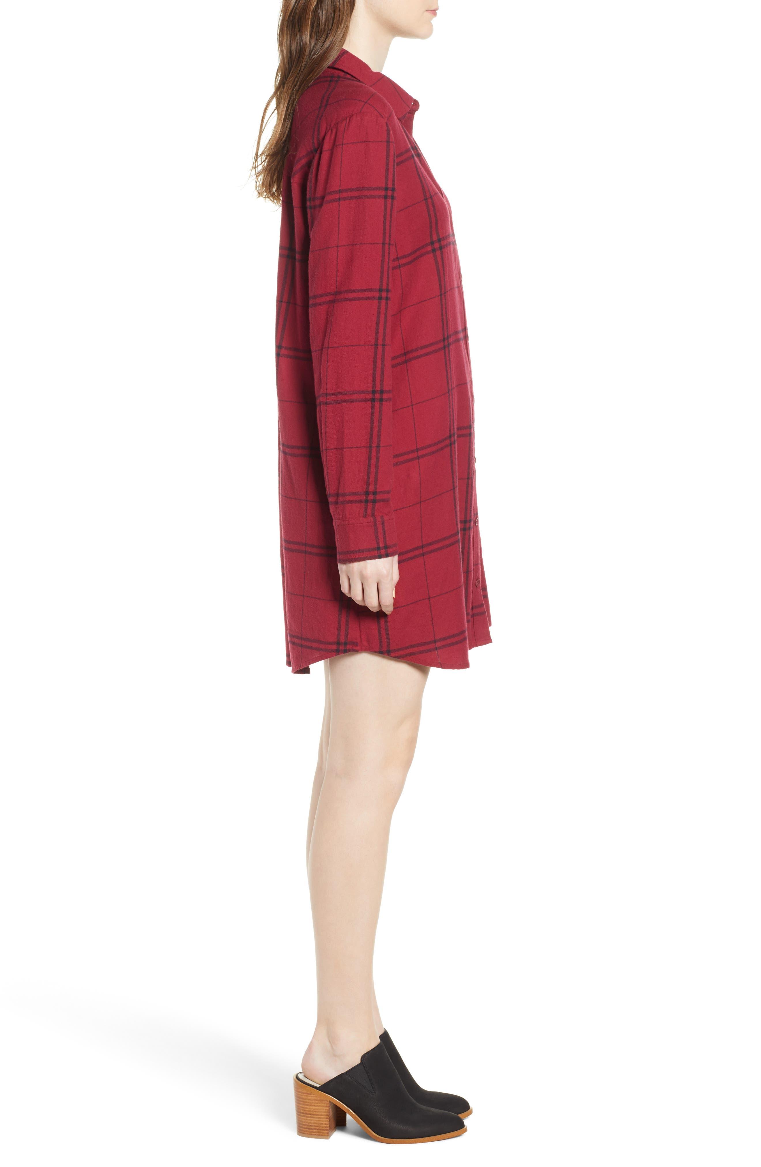 Plaid Shirt Dress,                             Alternate thumbnail 3, color,                             RED RUMBA SUNNY PLAID