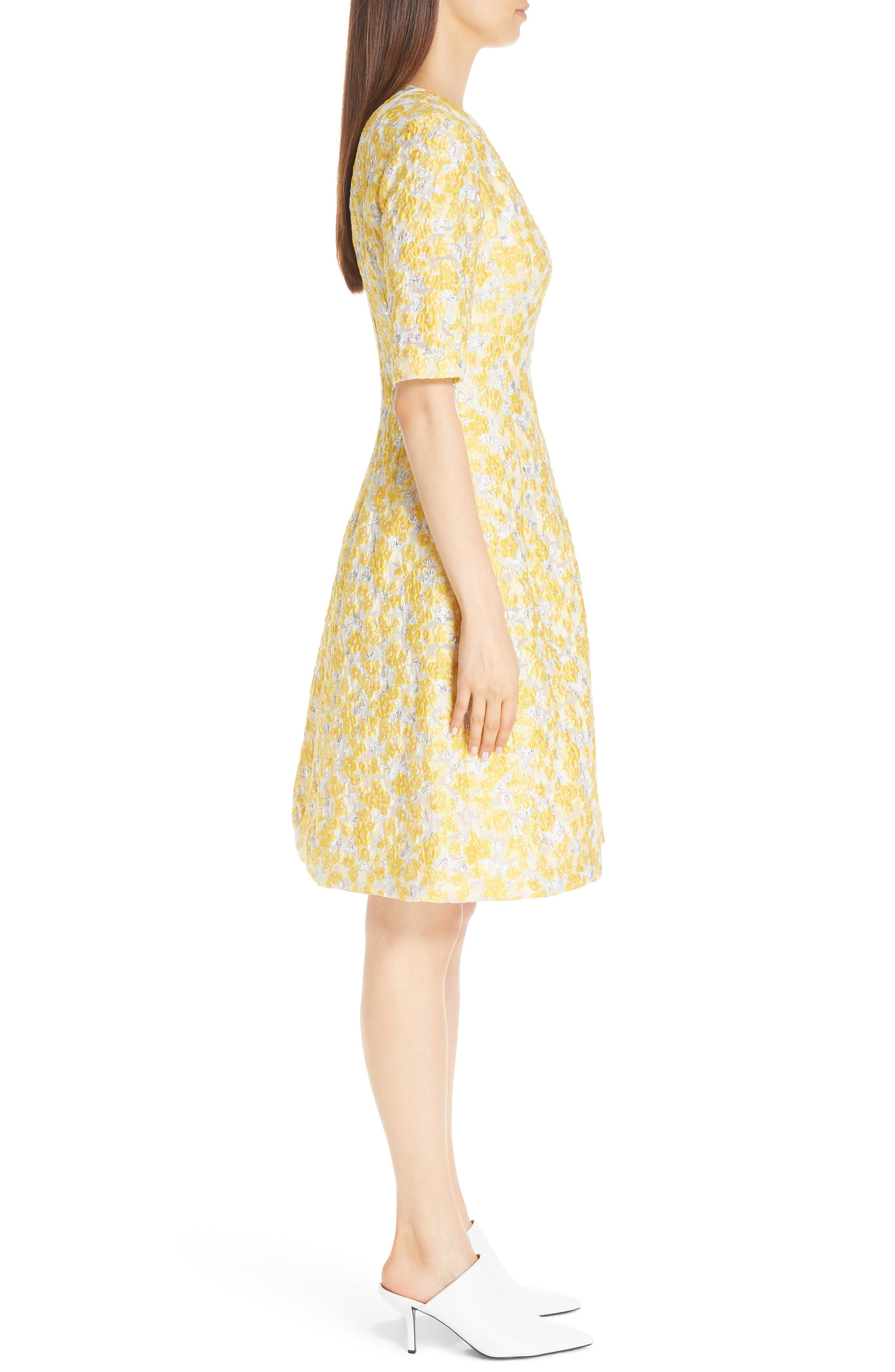 Holly Metallic Floral Fil Coupé Fit & Flare Dress,                             Alternate thumbnail 3, color,                             YELLOW