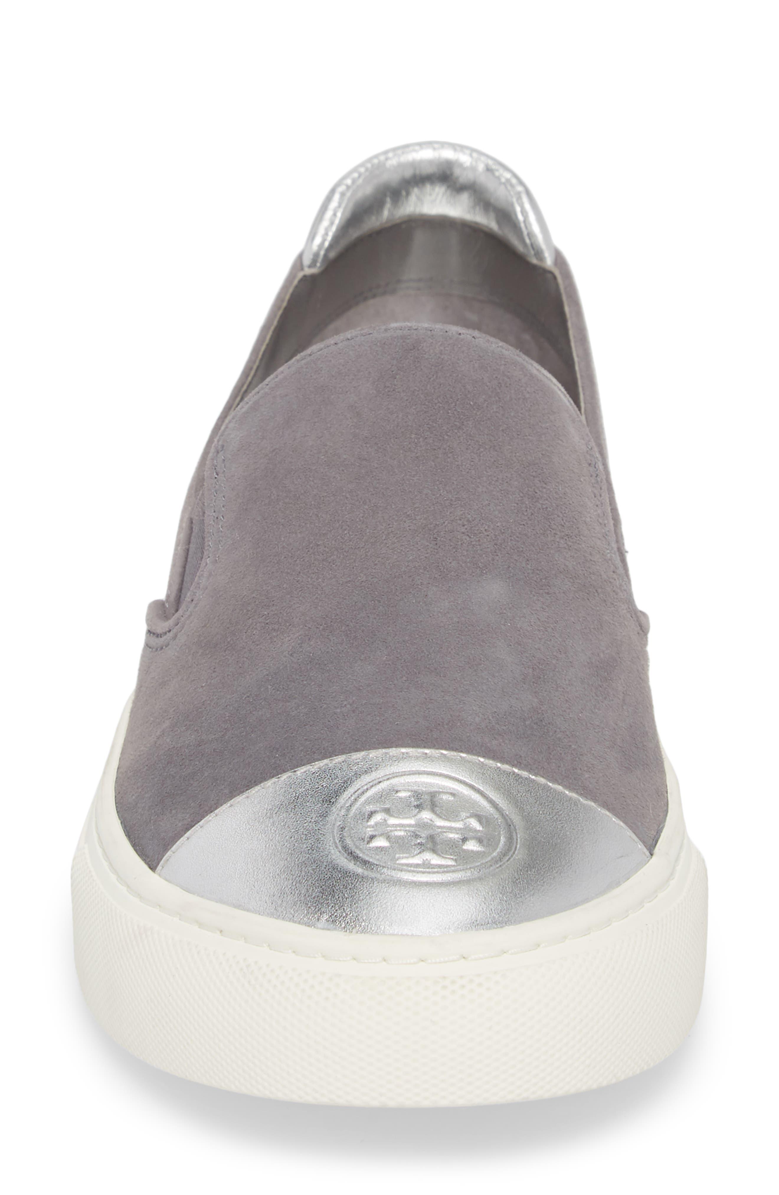 Colorblock Slip-On Sneaker,                             Alternate thumbnail 4, color,                             CARBON/ SILVER