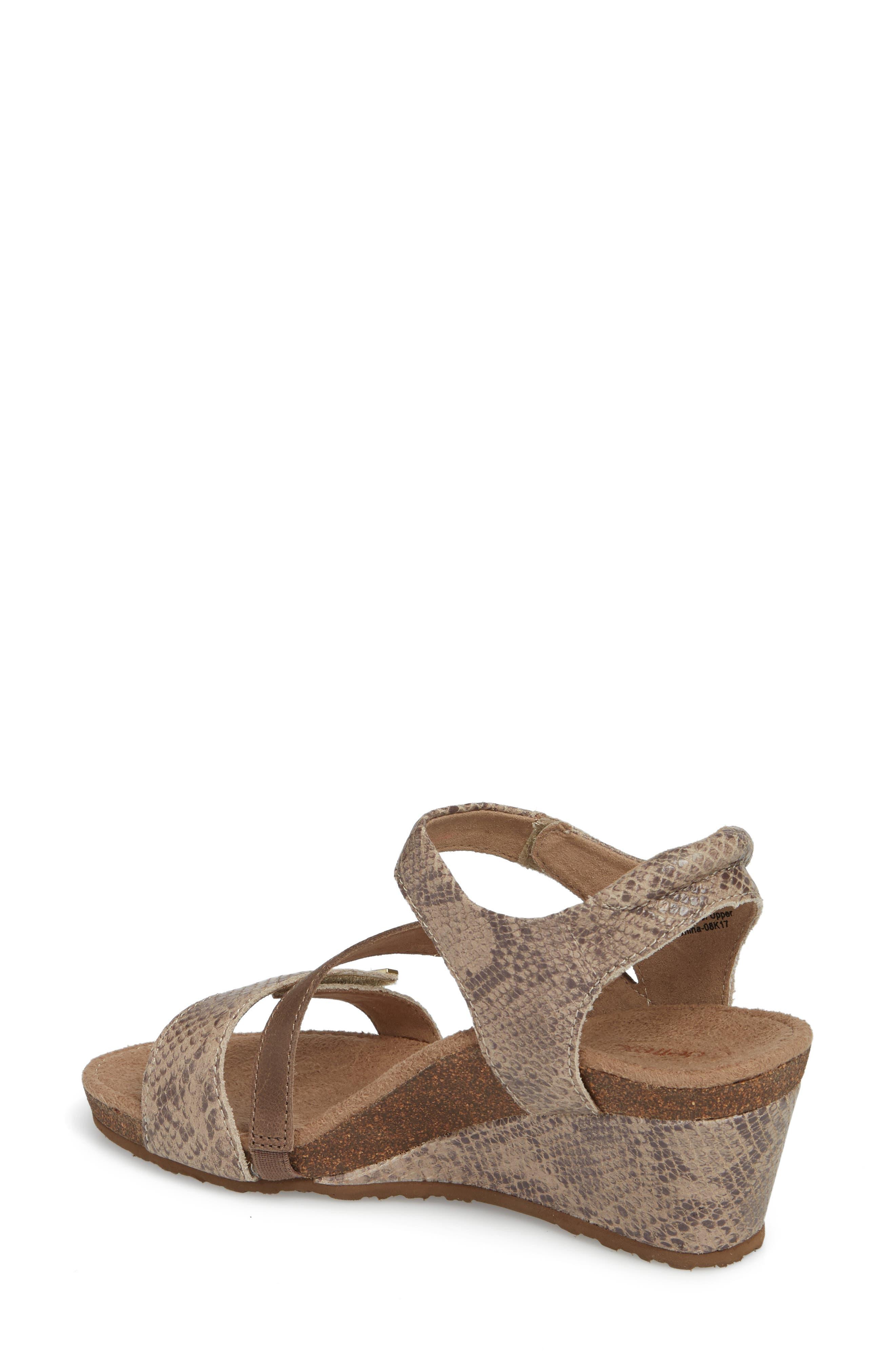 Brynn Asymmetrical Wedge Sandal,                             Alternate thumbnail 2, color,                             STONE SNAKE LEATHER