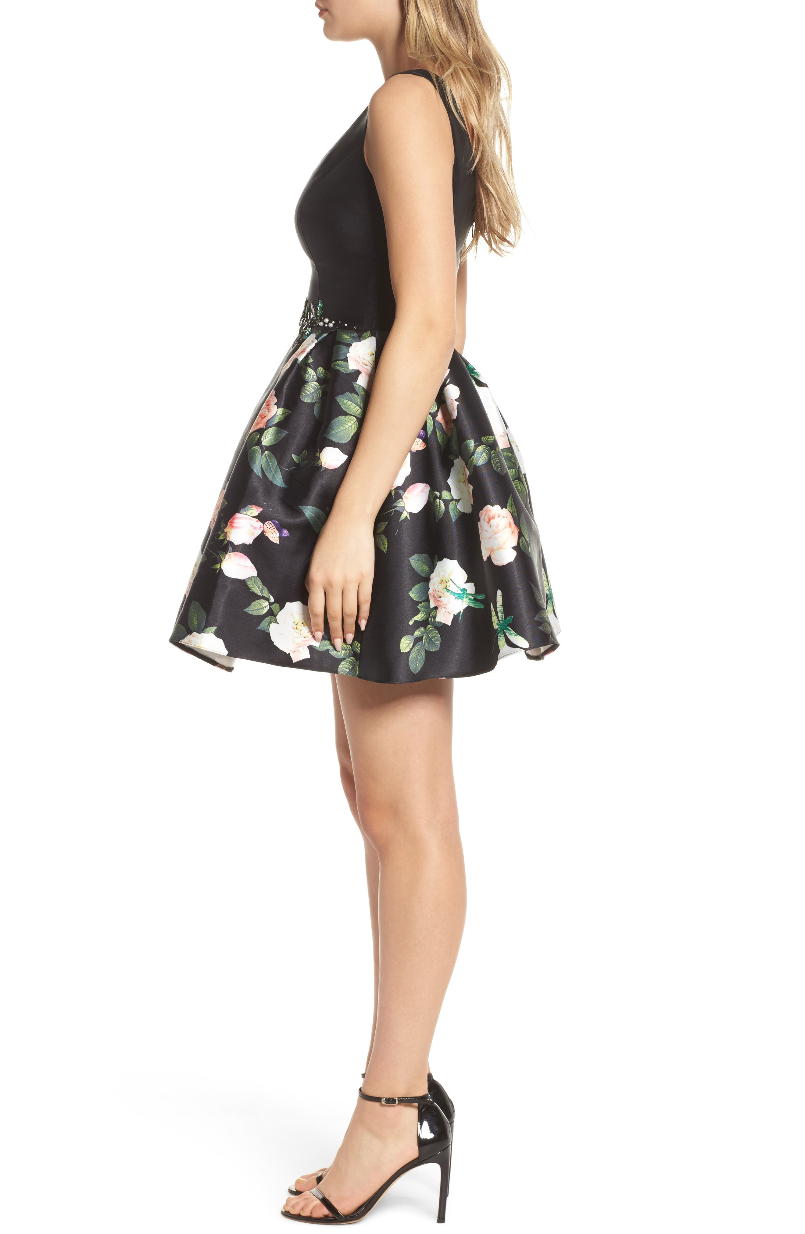 Floral Fit & Flare Dress,                             Alternate thumbnail 3, color,
