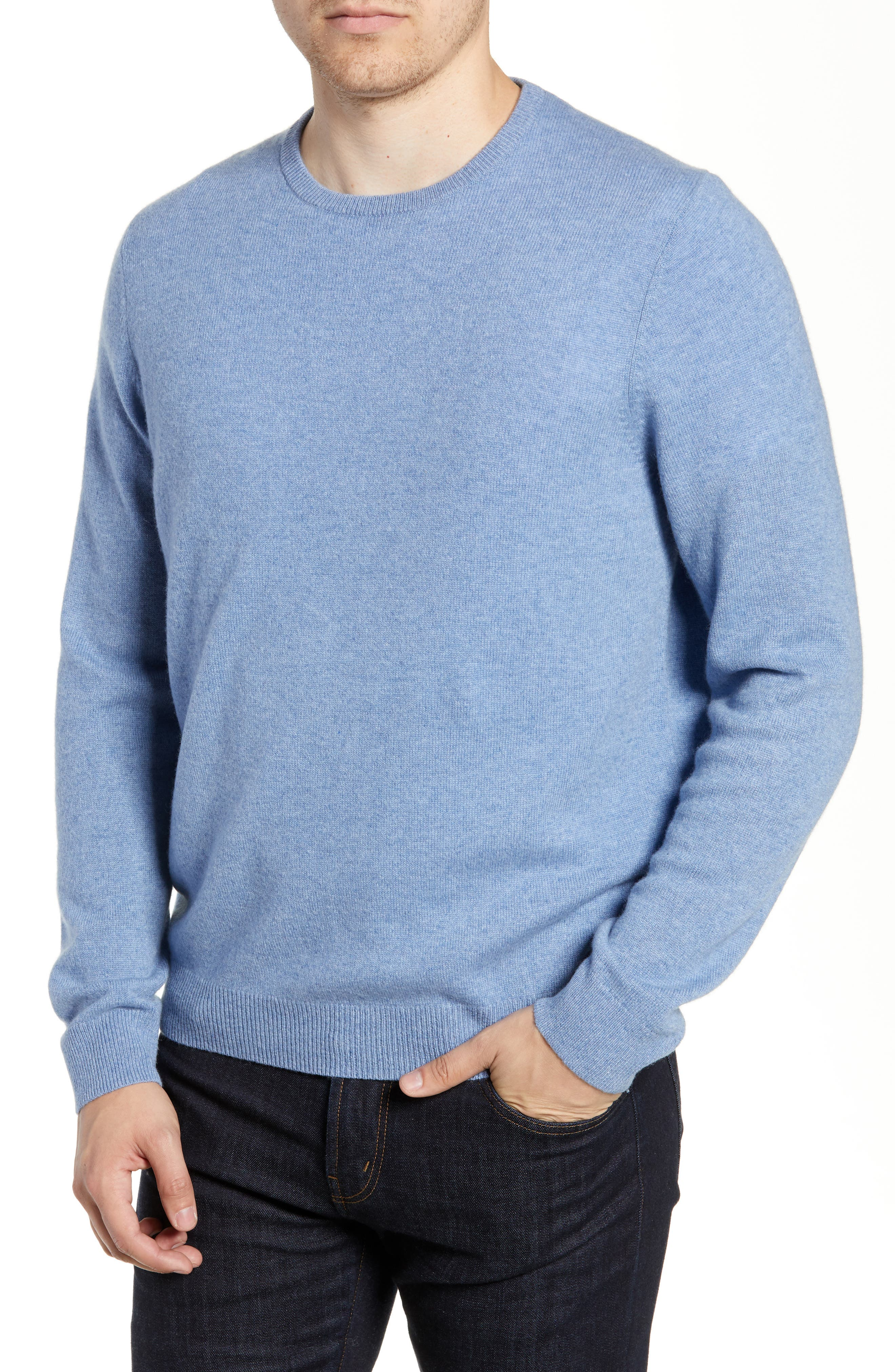 Nordstrom Shop Cashmere Crewneck Sweater, Blue