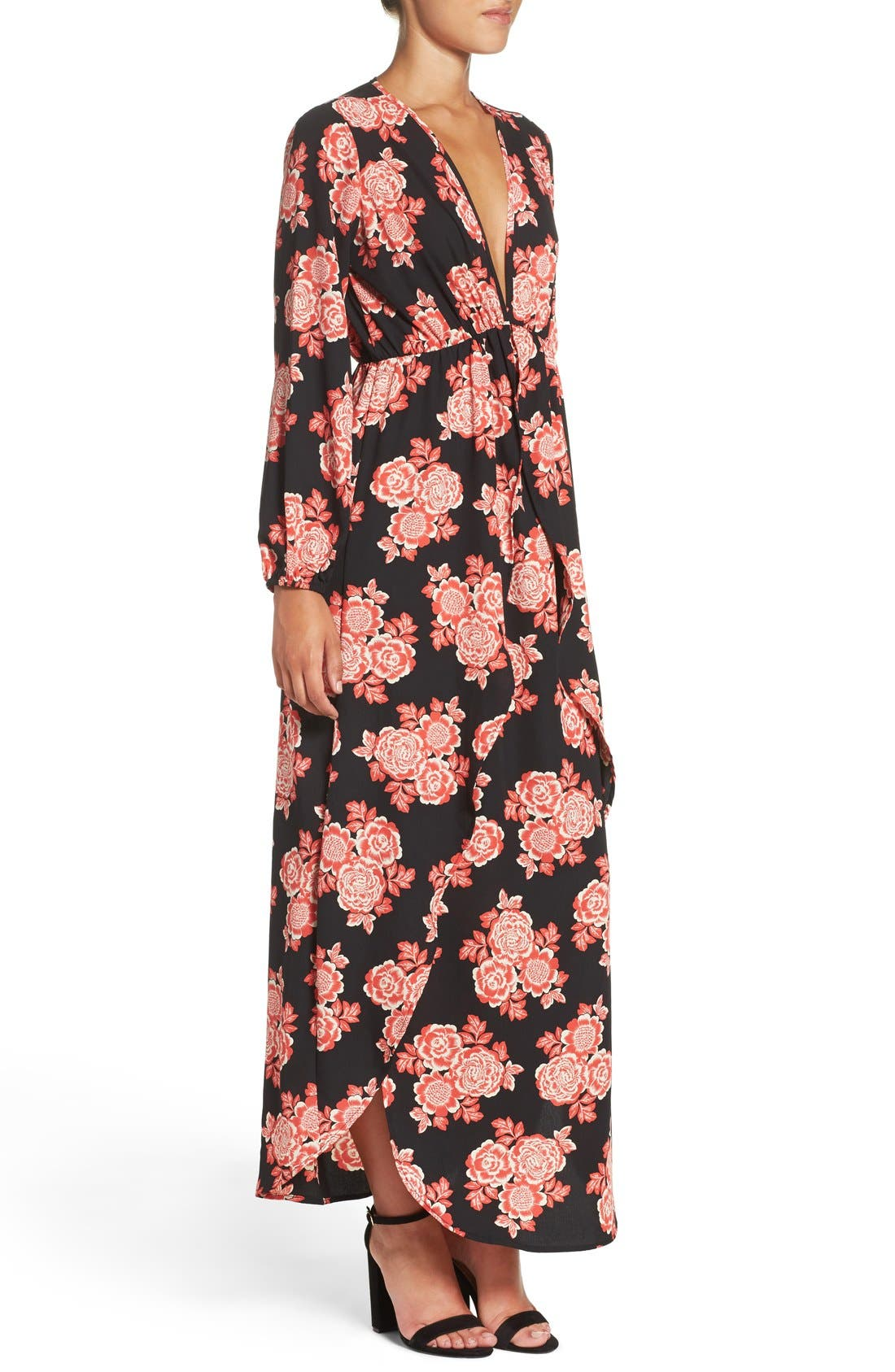 Floral Maxi Dress,                             Alternate thumbnail 3, color,