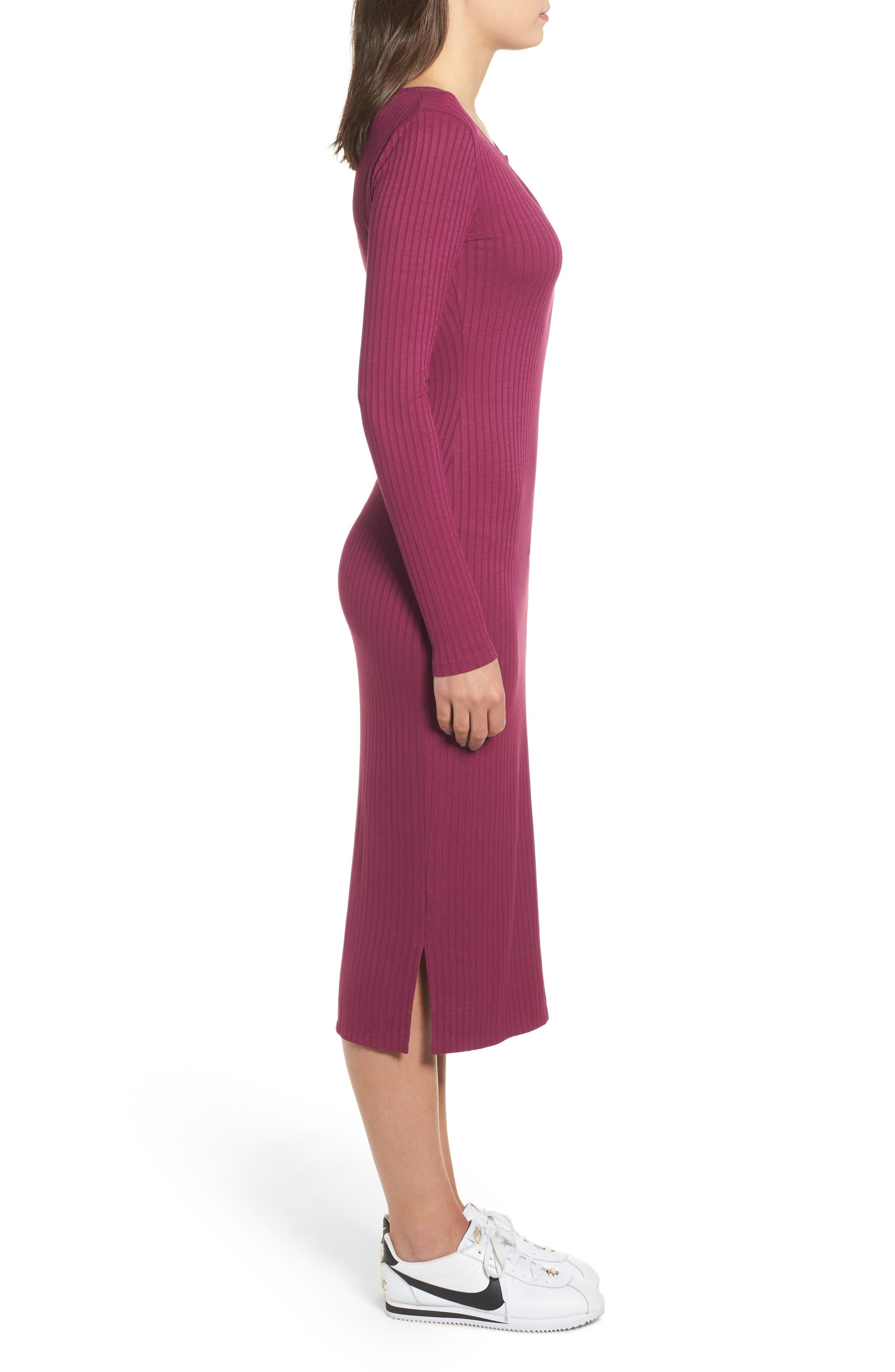 Ribbed Henley Midi Dress,                             Alternate thumbnail 3, color,                             PURPLE MAGENTA