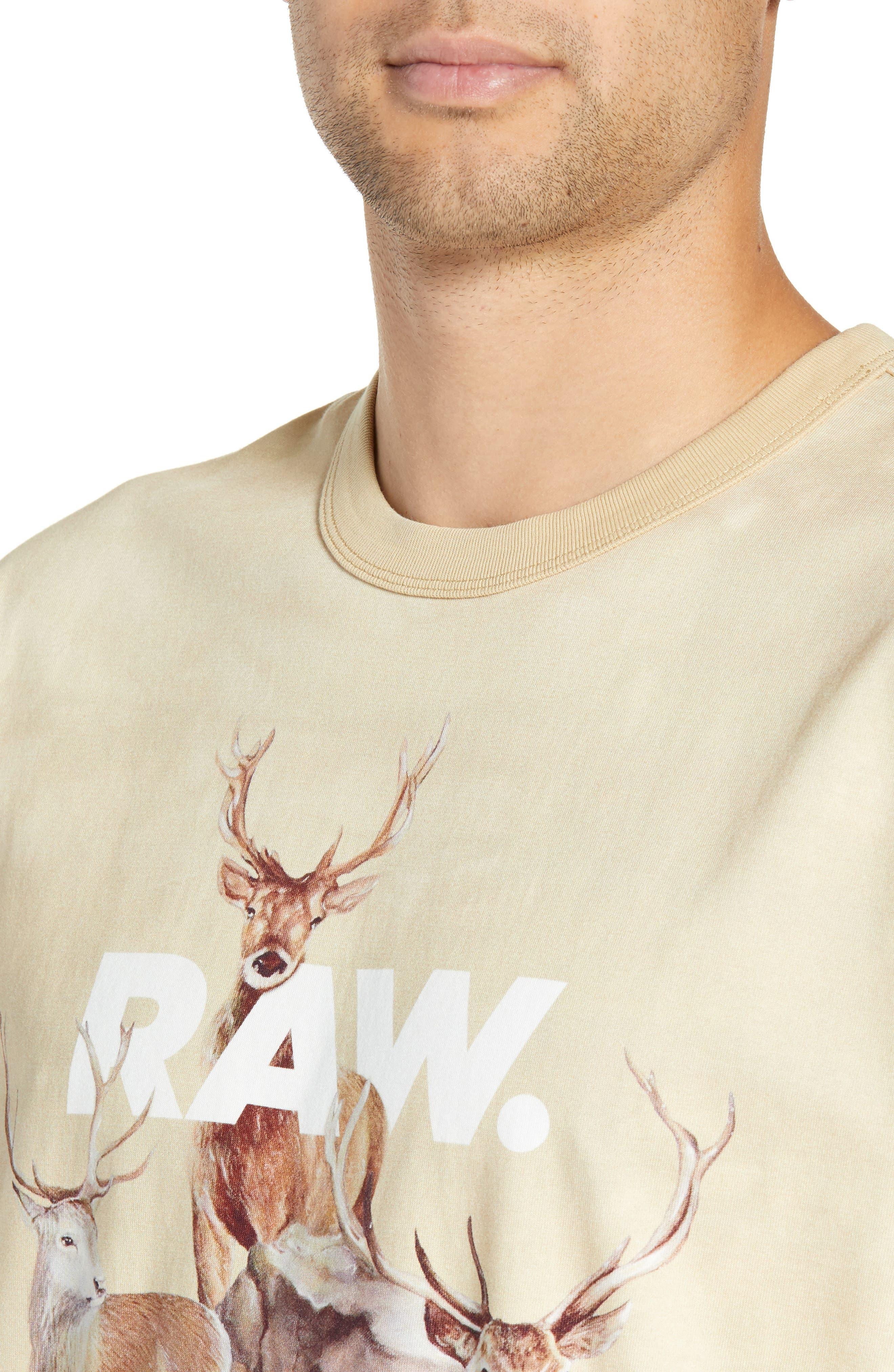 G-Star Cyrer Animal Loose T-Shirt,                             Alternate thumbnail 4, color,                             SAND