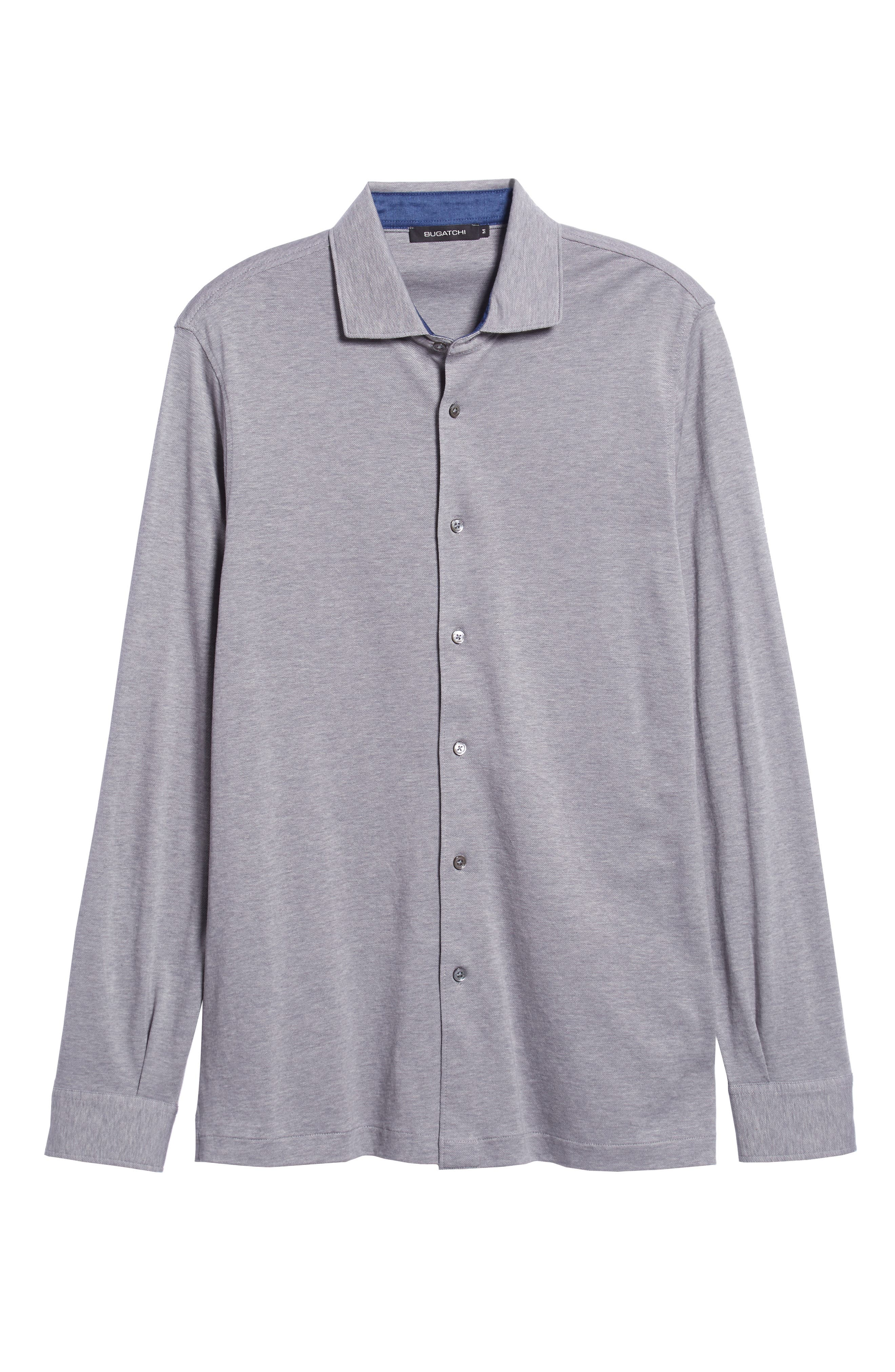 Shaped Fit Contrast Cuff Sport Shirt,                             Alternate thumbnail 5, color,                             GRAPHITE