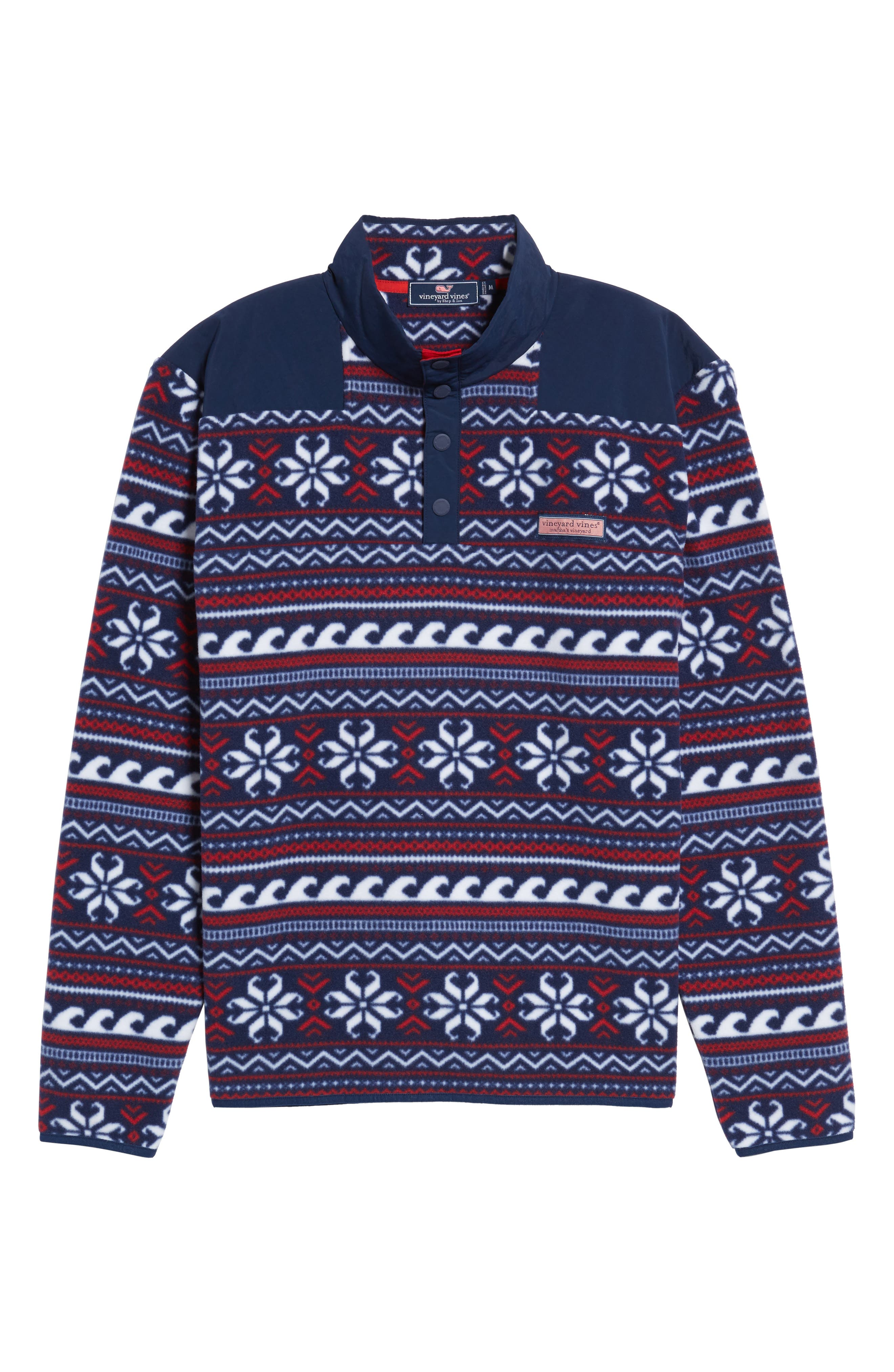 Fair Isle Quarter Snap Fleece Pullover,                             Alternate thumbnail 6, color,