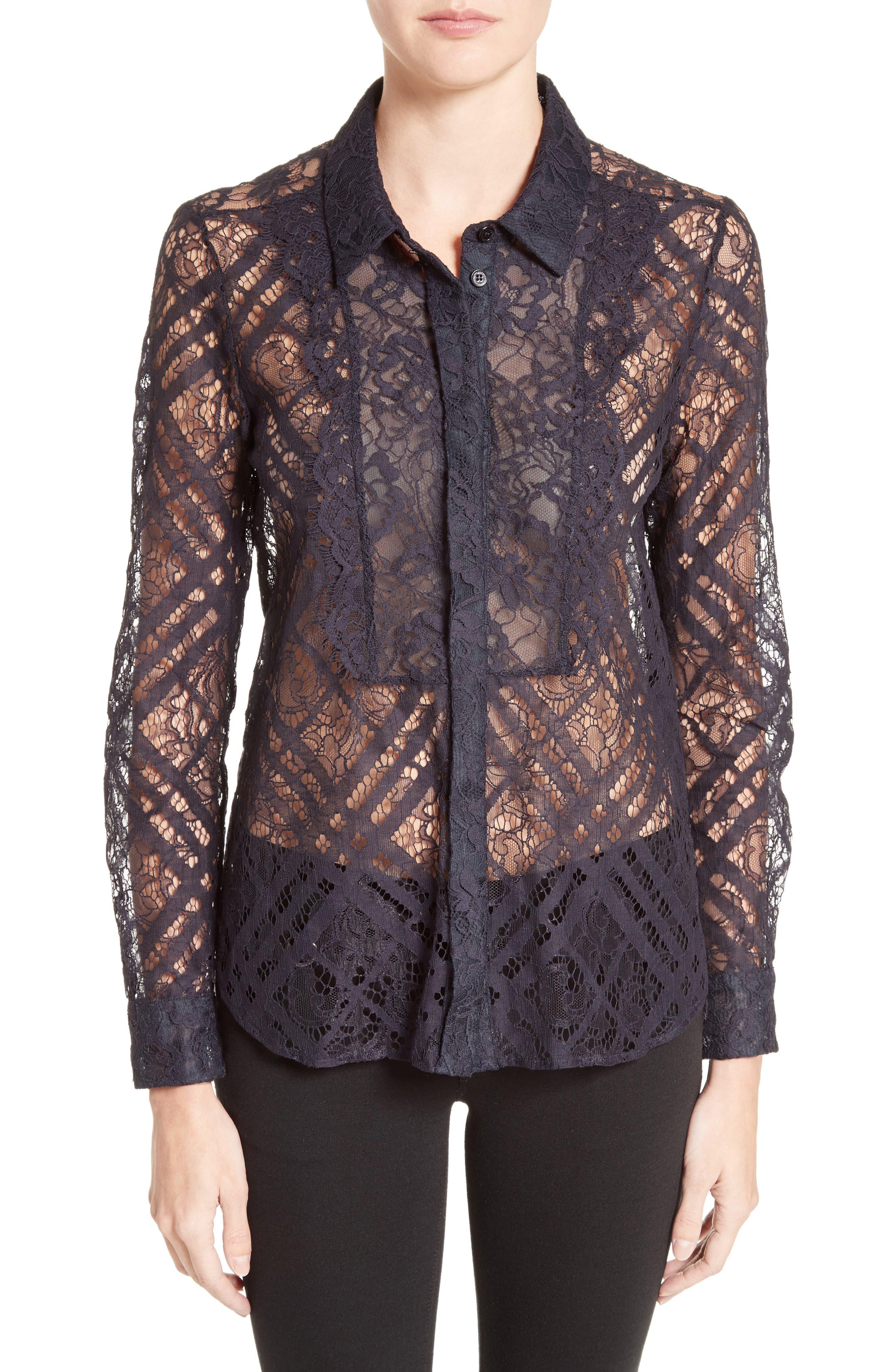 Aster Check Lace Shirt,                         Main,                         color, 410