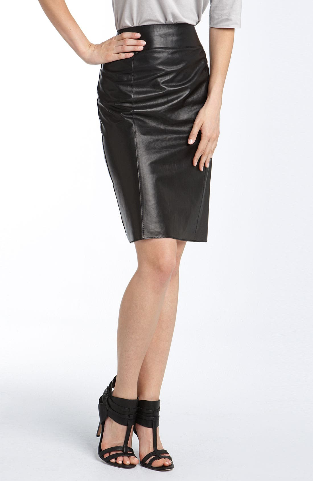 Lambskin Leather Pencil Skirt, Main, color, 001