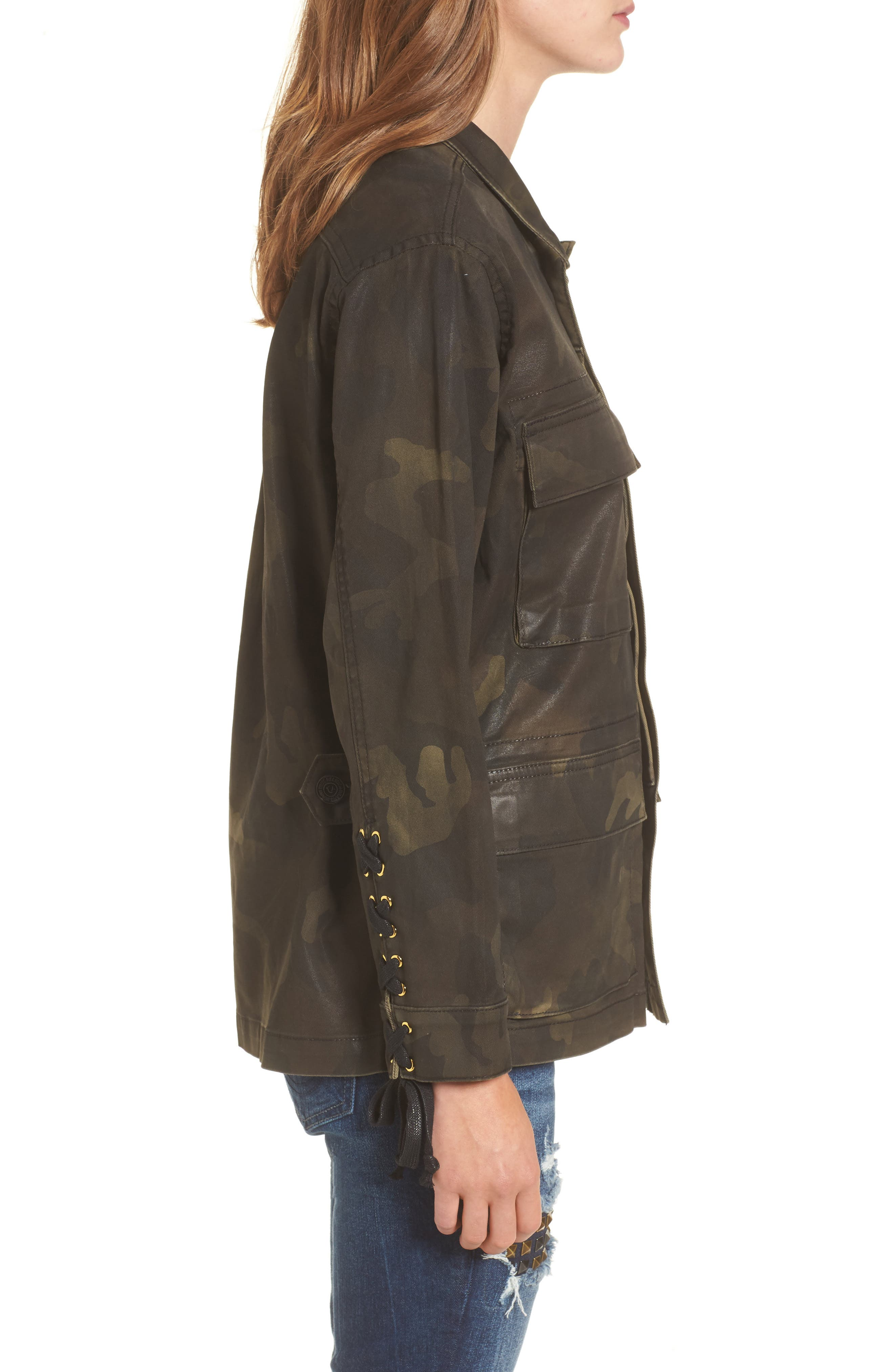 TRUE RELIGION BRAND JEANS,                             Coated Military Jacket,                             Alternate thumbnail 3, color,                             300