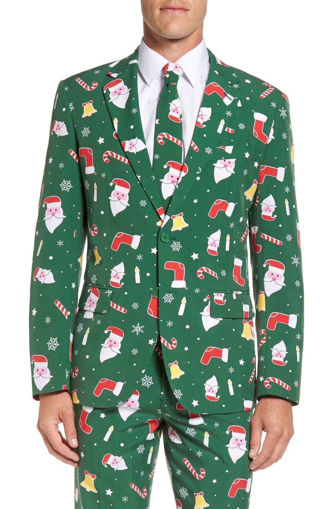 'Santaboss' Trim Fit Two-Piece Suit with Tie,                             Alternate thumbnail 6, color,                             301