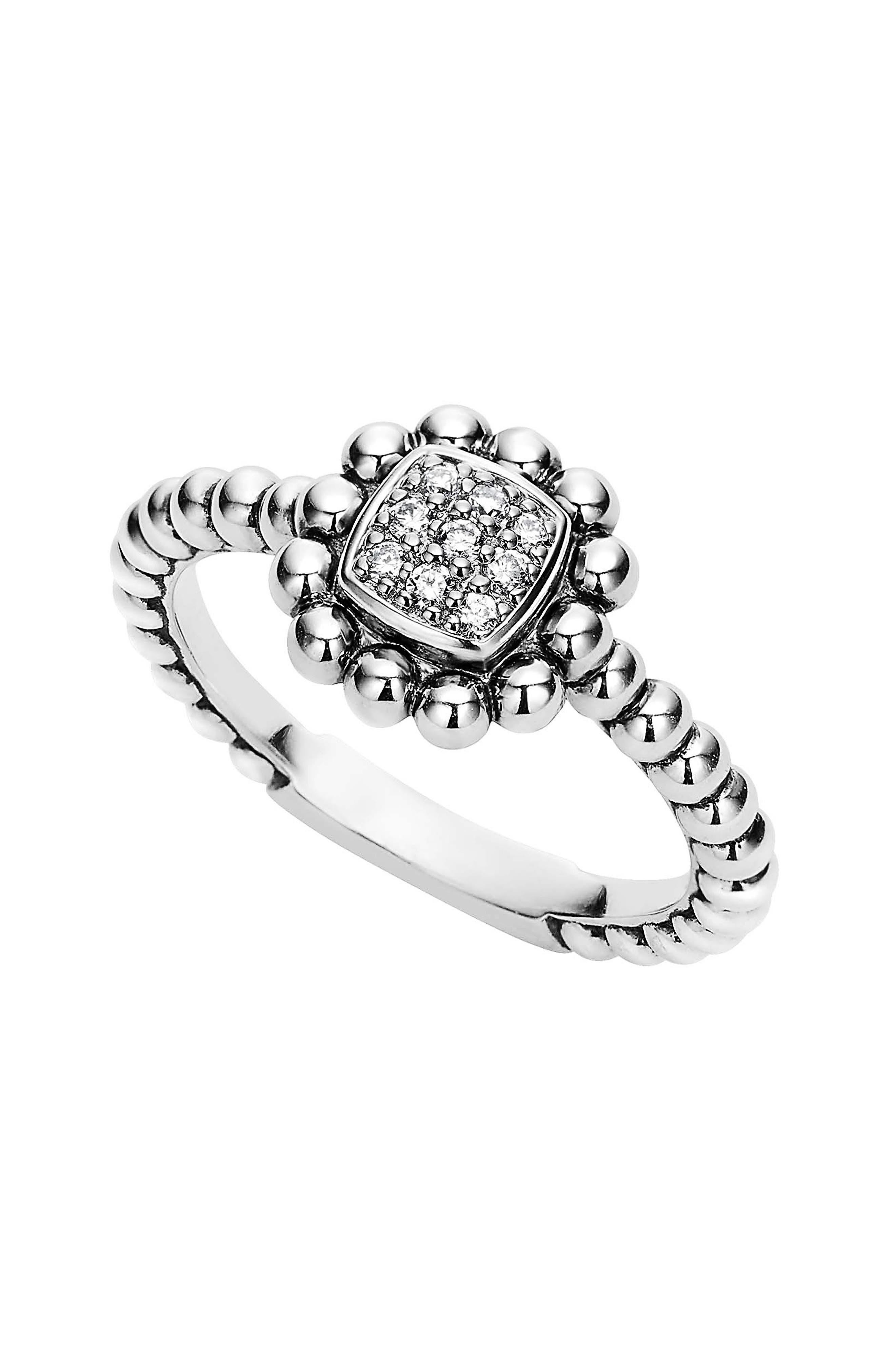 Caviar Spark Diamond Square Ring,                         Main,                         color, SILVER/ DIAMOND