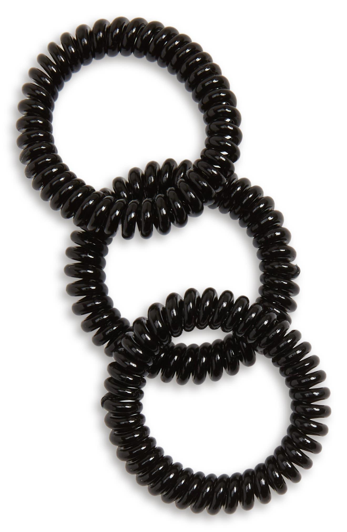 Slim 3-Pack Hair Ties,                             Main thumbnail 1, color,                             TRUE BLACK