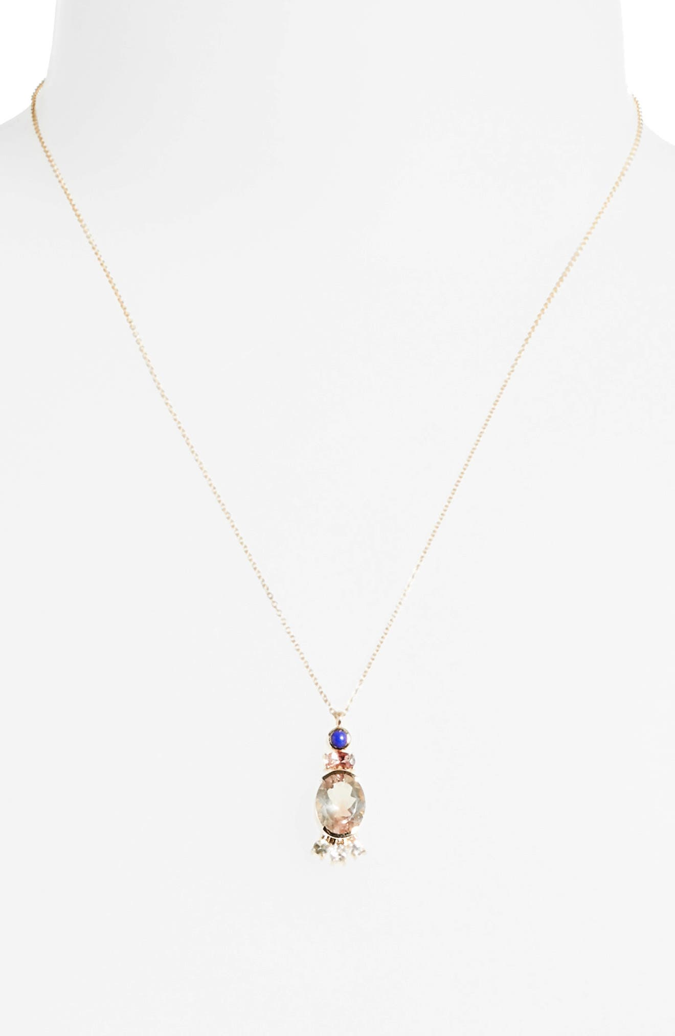Sunstone, Lapis & Diamond Pendant Necklace,                             Alternate thumbnail 2, color,