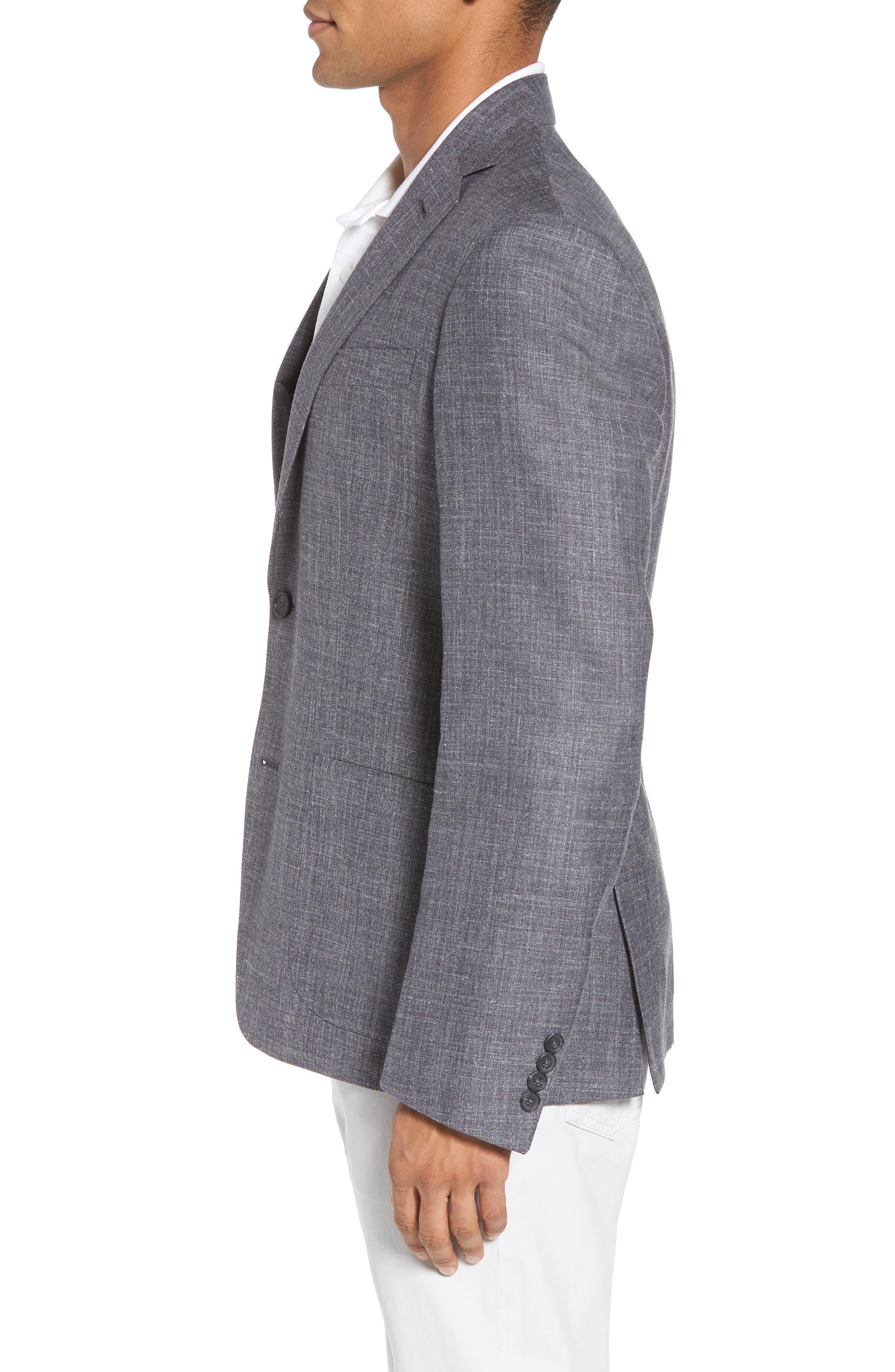 Trim Fit Wool Blend Blazer,                             Alternate thumbnail 3, color,                             020