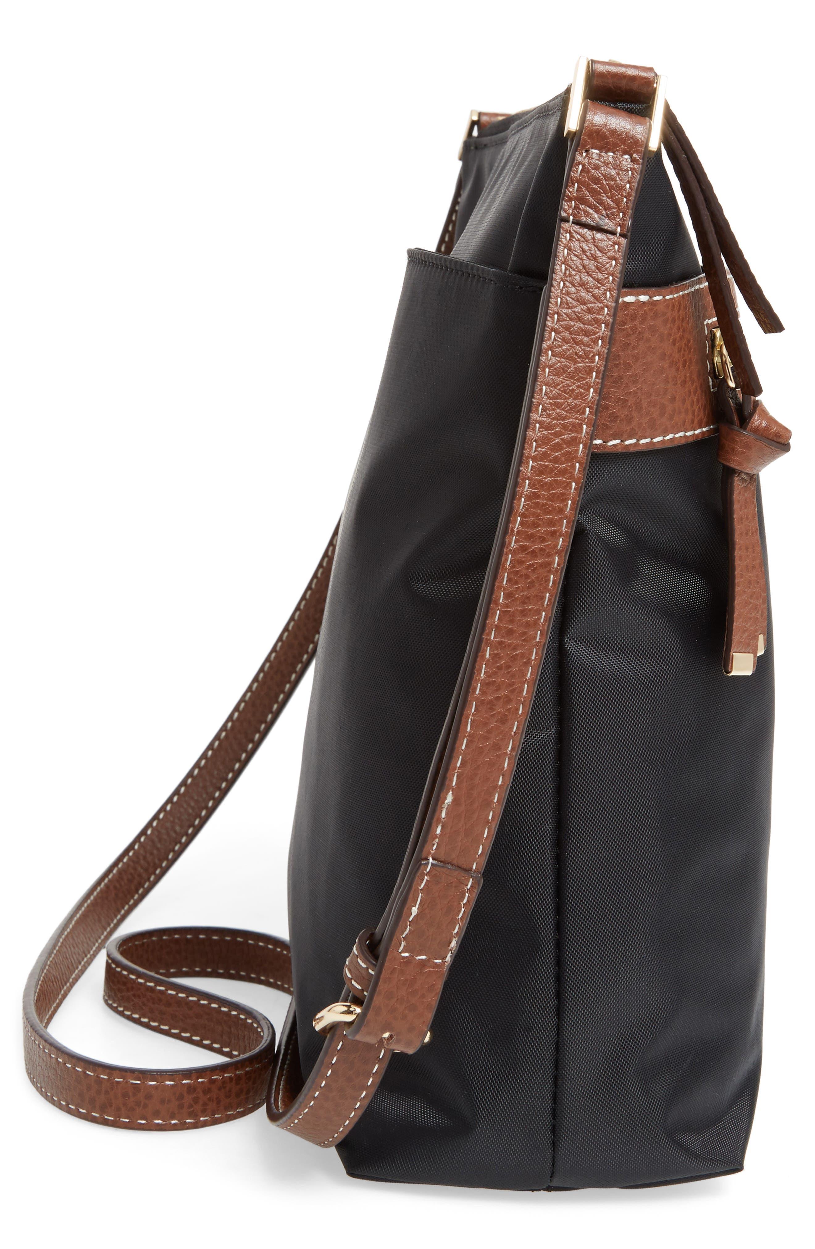 Halogen Nylon Crossbody Bag,                             Alternate thumbnail 5, color,                             001