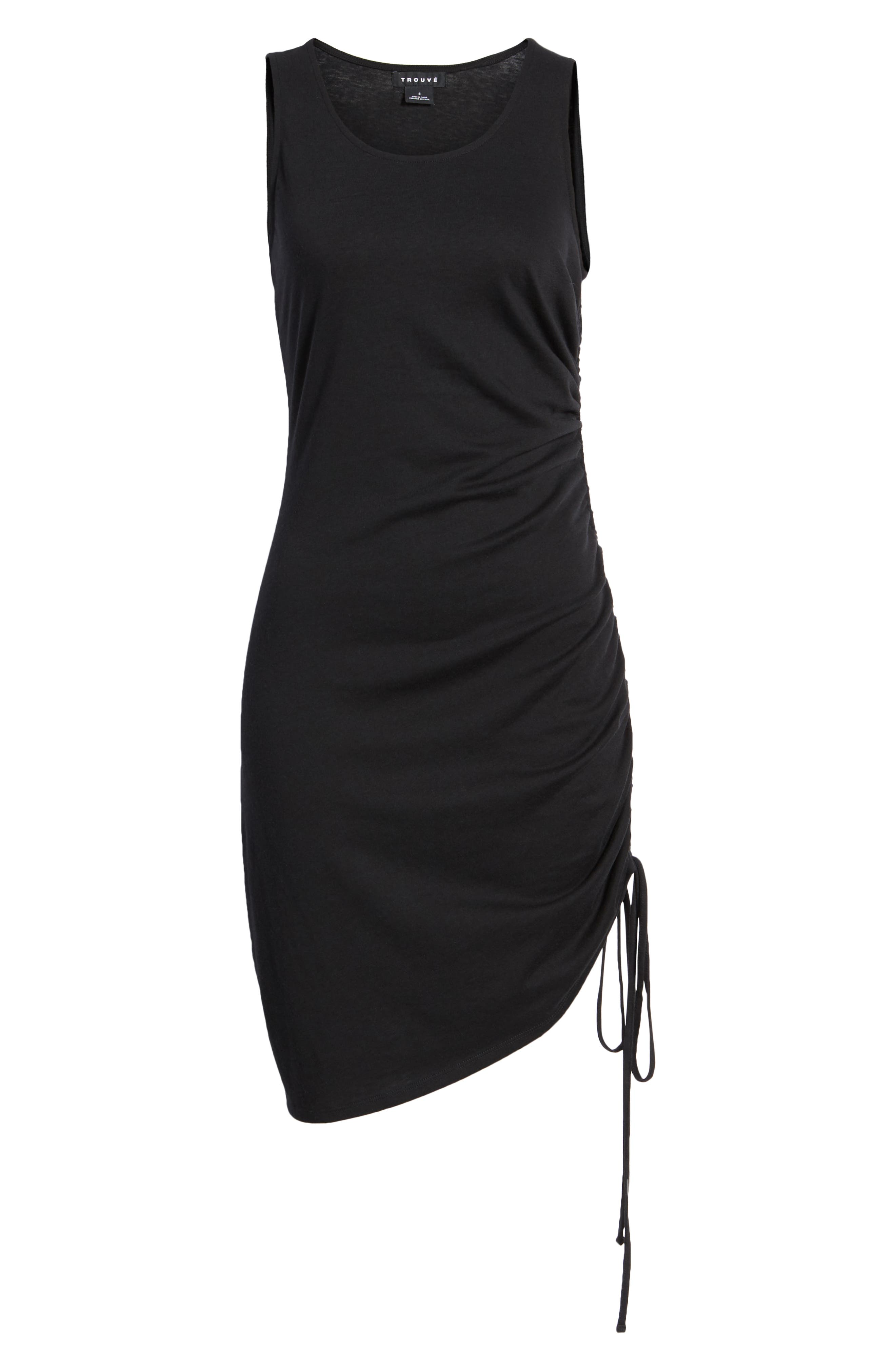 Side Shirred Body-Con Dress,                             Alternate thumbnail 7, color,                             001