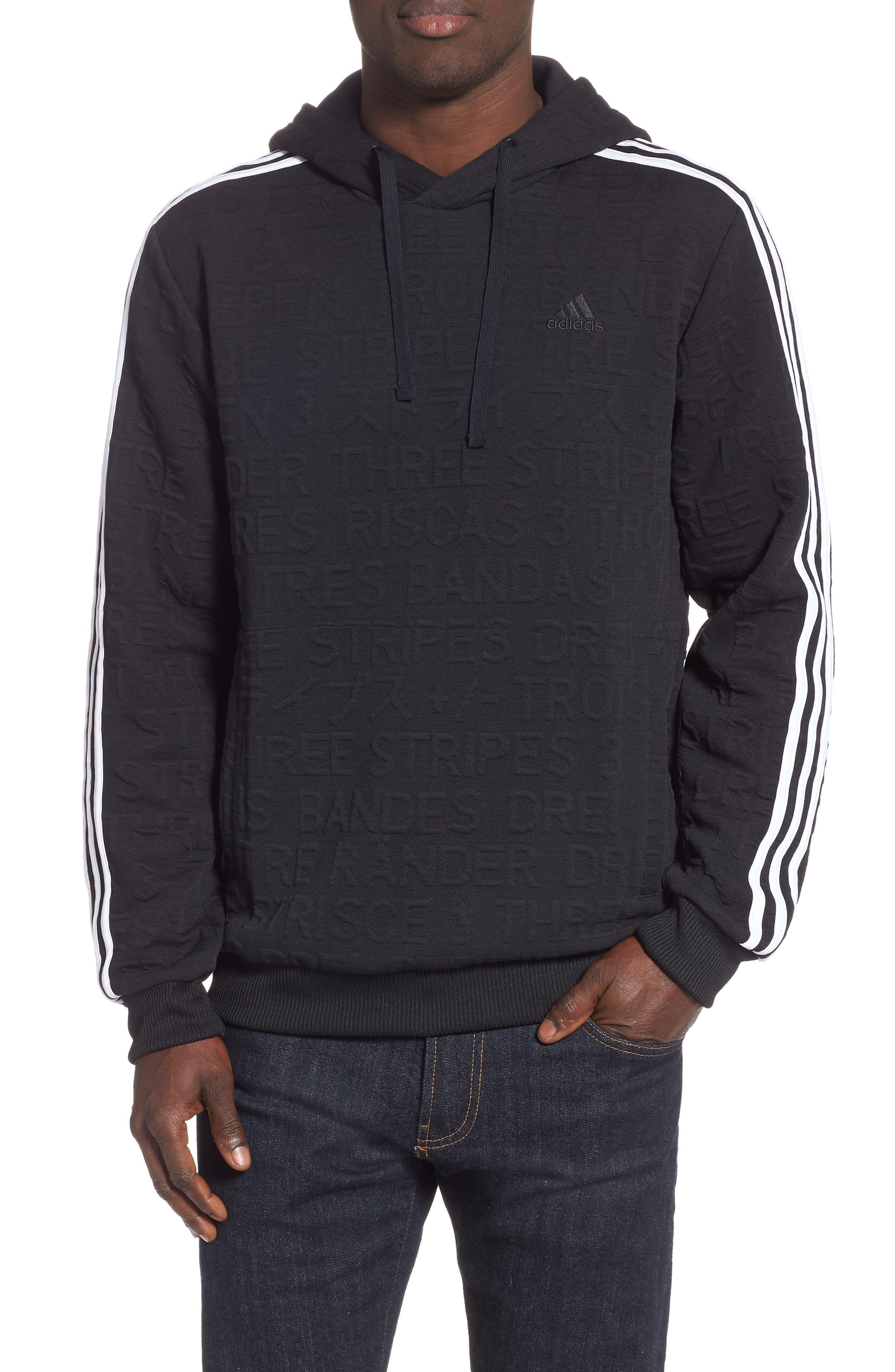 ADIDAS,                             3-Stripes Hoodie Sweatshirt,                             Main thumbnail 1, color,                             BLACK