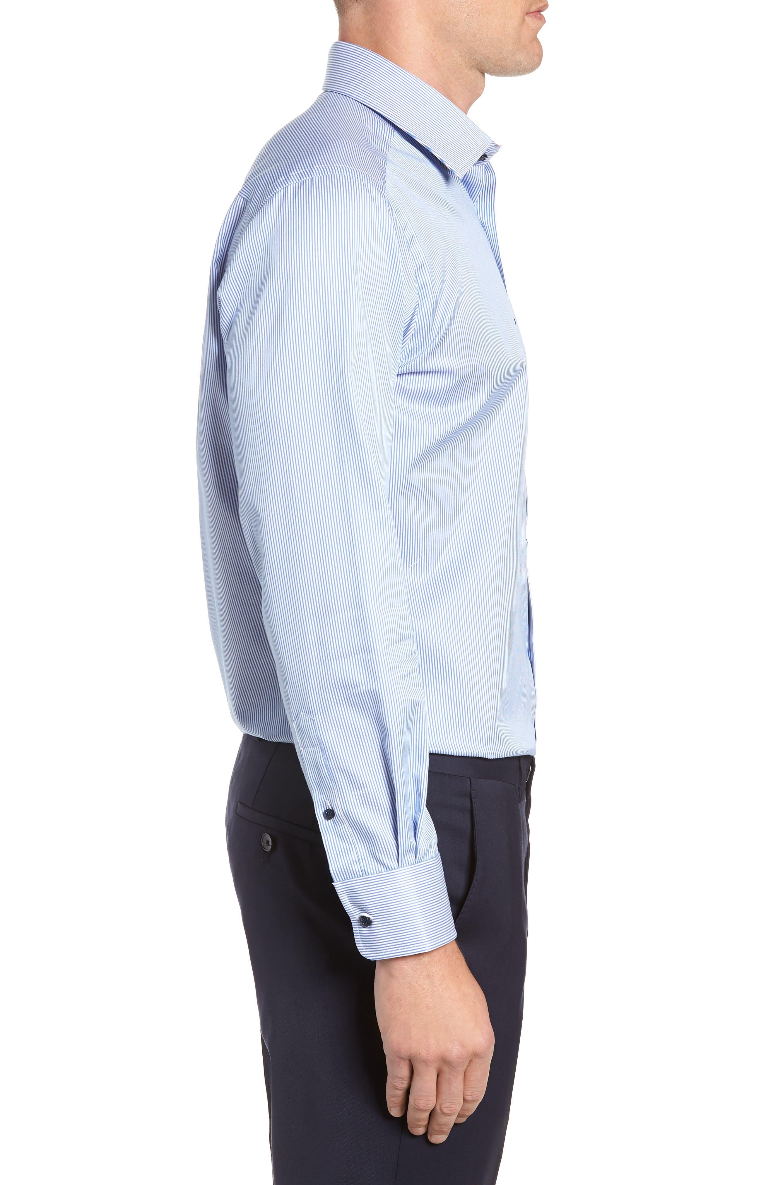 Trim Fit Stripe Dress Shirt,                             Alternate thumbnail 4, color,                             BLUE