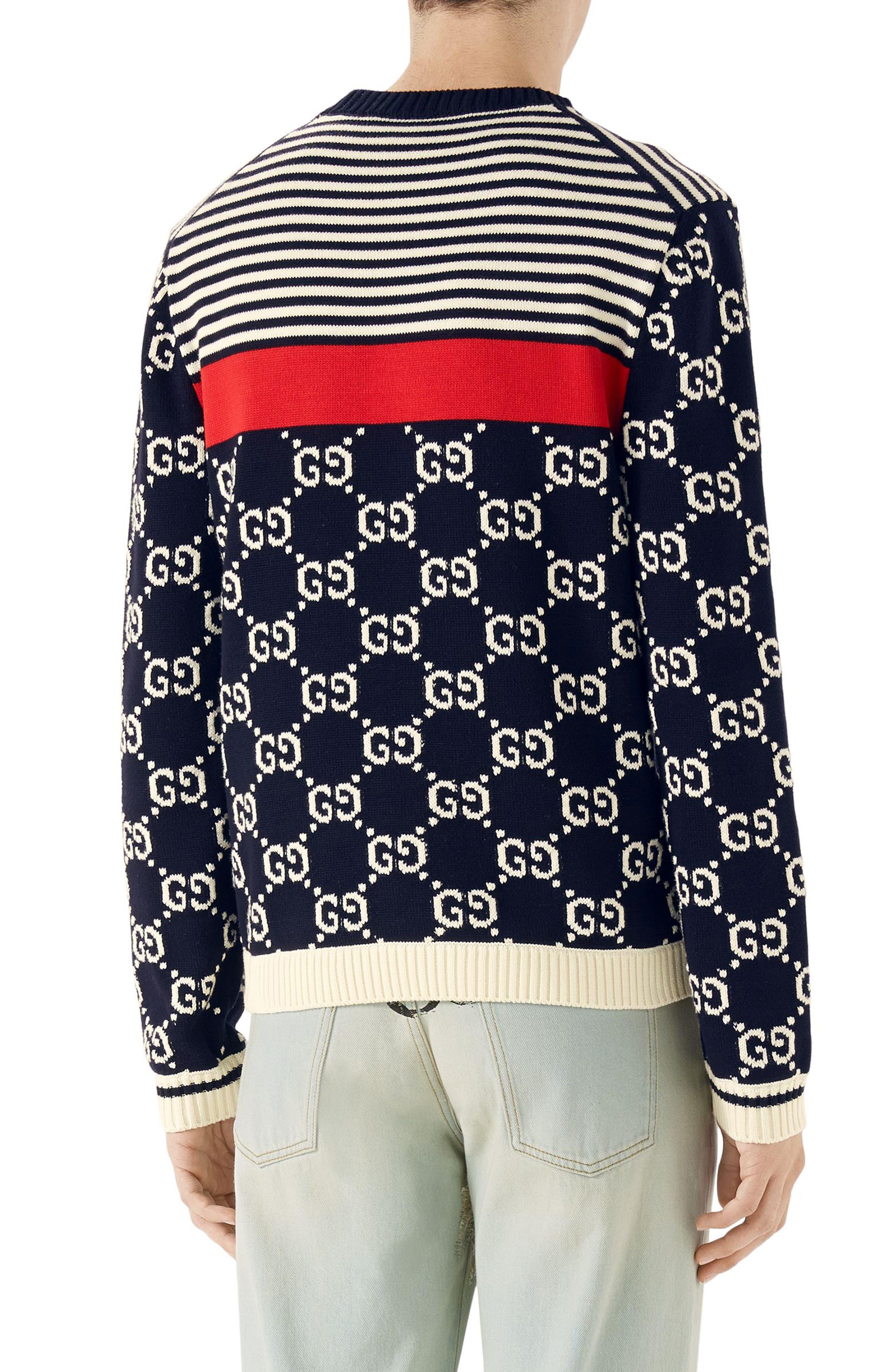 Stripe & Double-G Crewneck Sweater,                             Alternate thumbnail 2, color,                             930