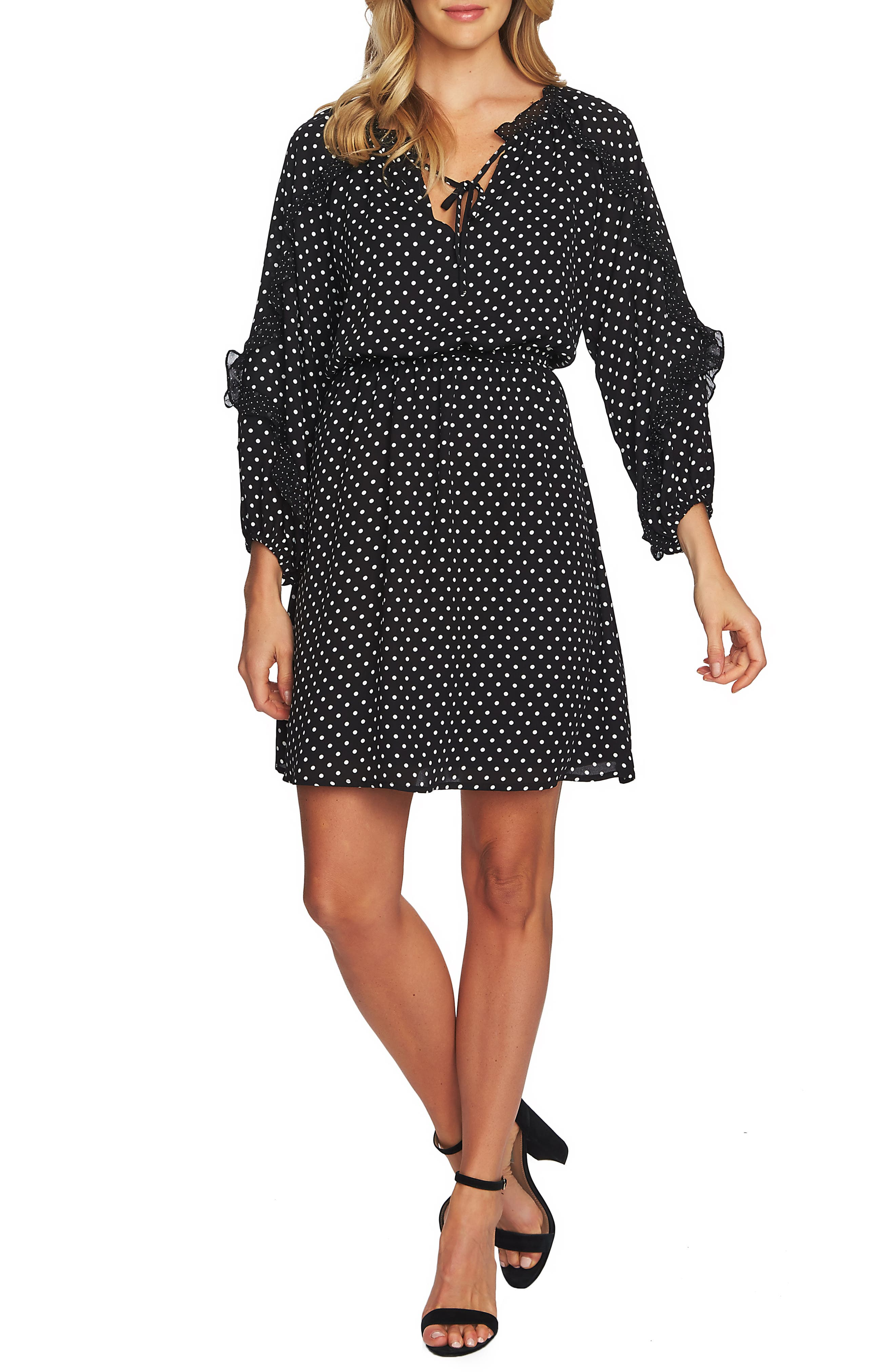 Cece Mix Dot Ruffle Dress, Black