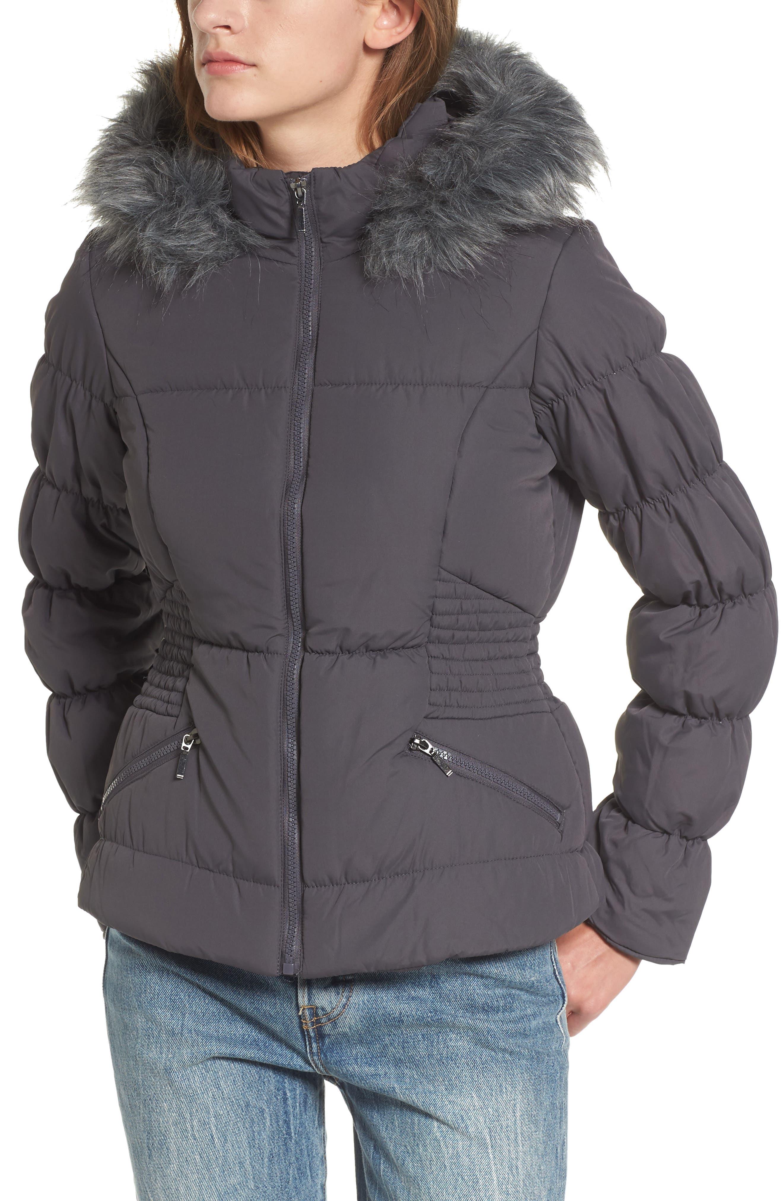 Faux Fur Trim Puffer Coat,                             Alternate thumbnail 4, color,                             036