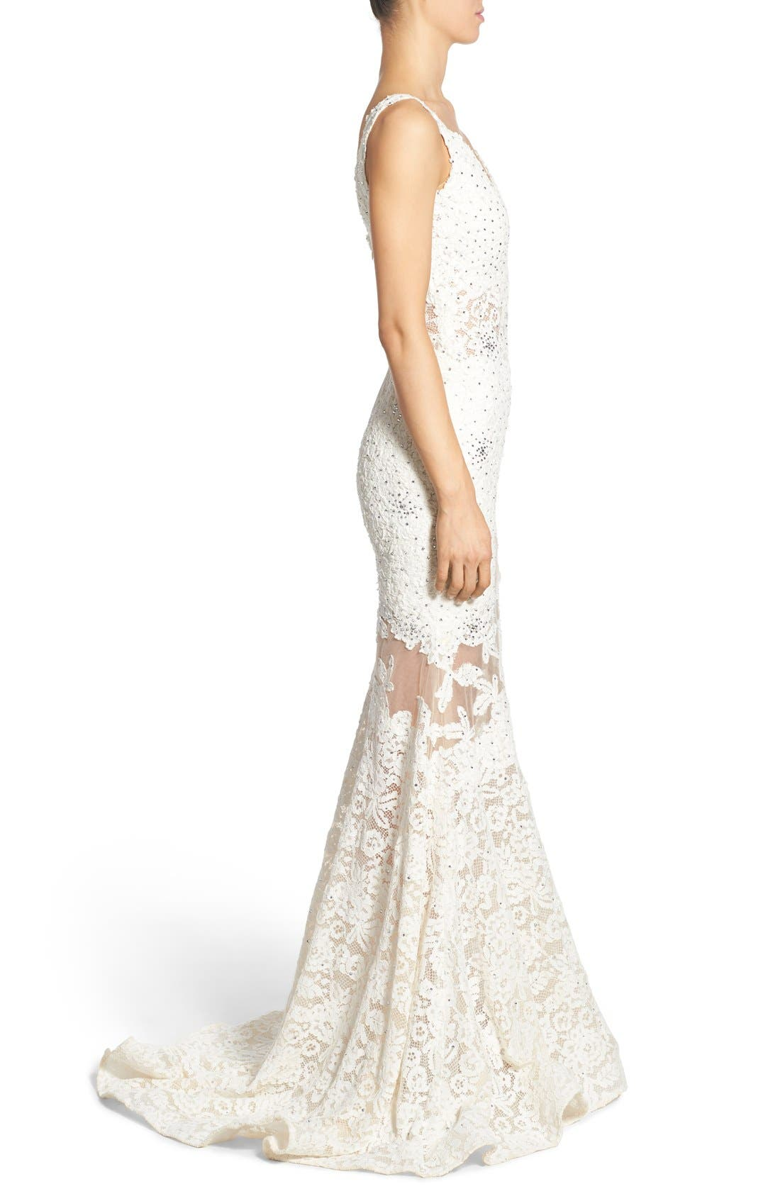 Embellished Lace Mermaid Gown,                             Alternate thumbnail 3, color,                             900