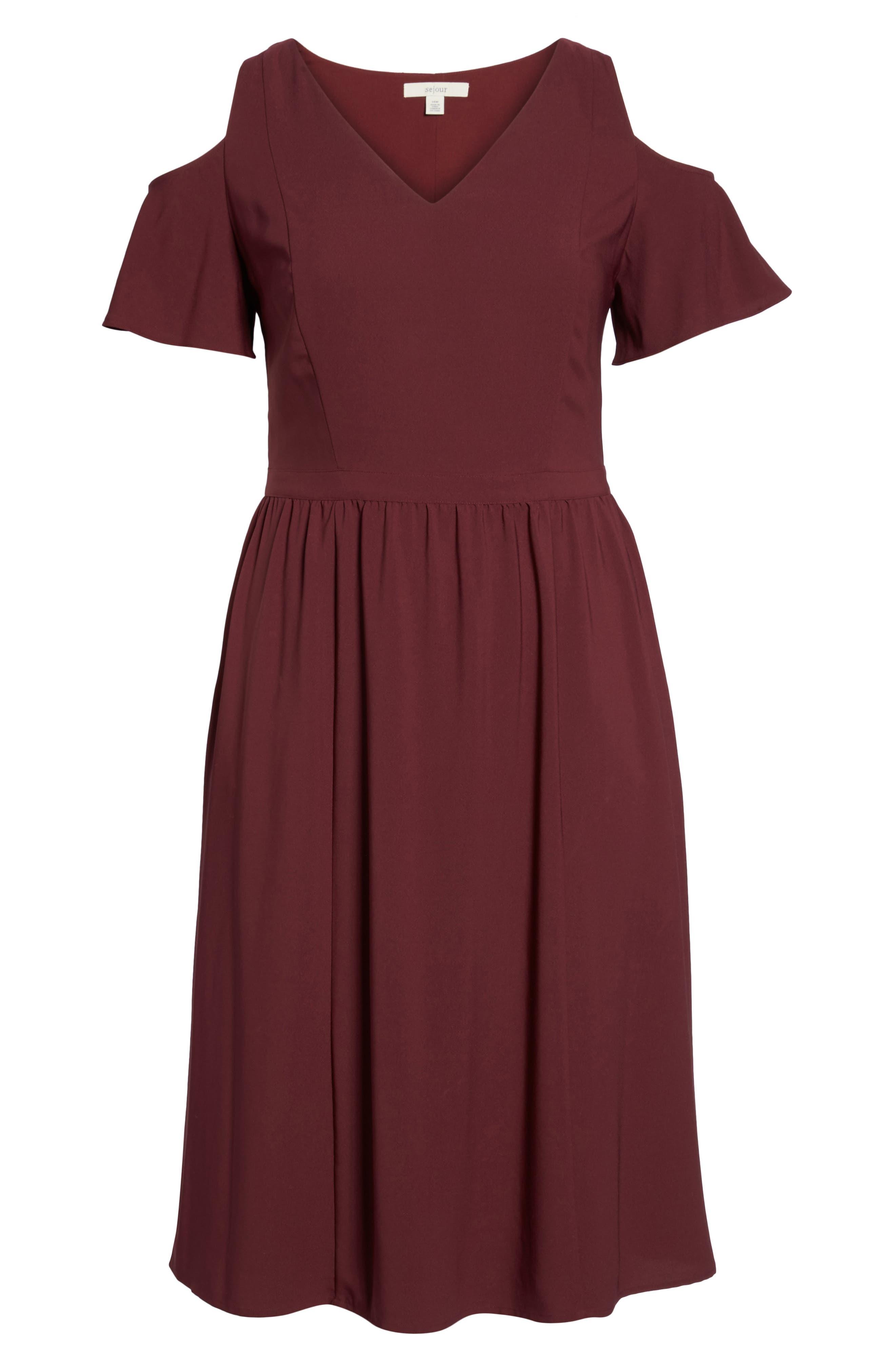 Cold Shoulder Midi Dress,                             Alternate thumbnail 6, color,                             930