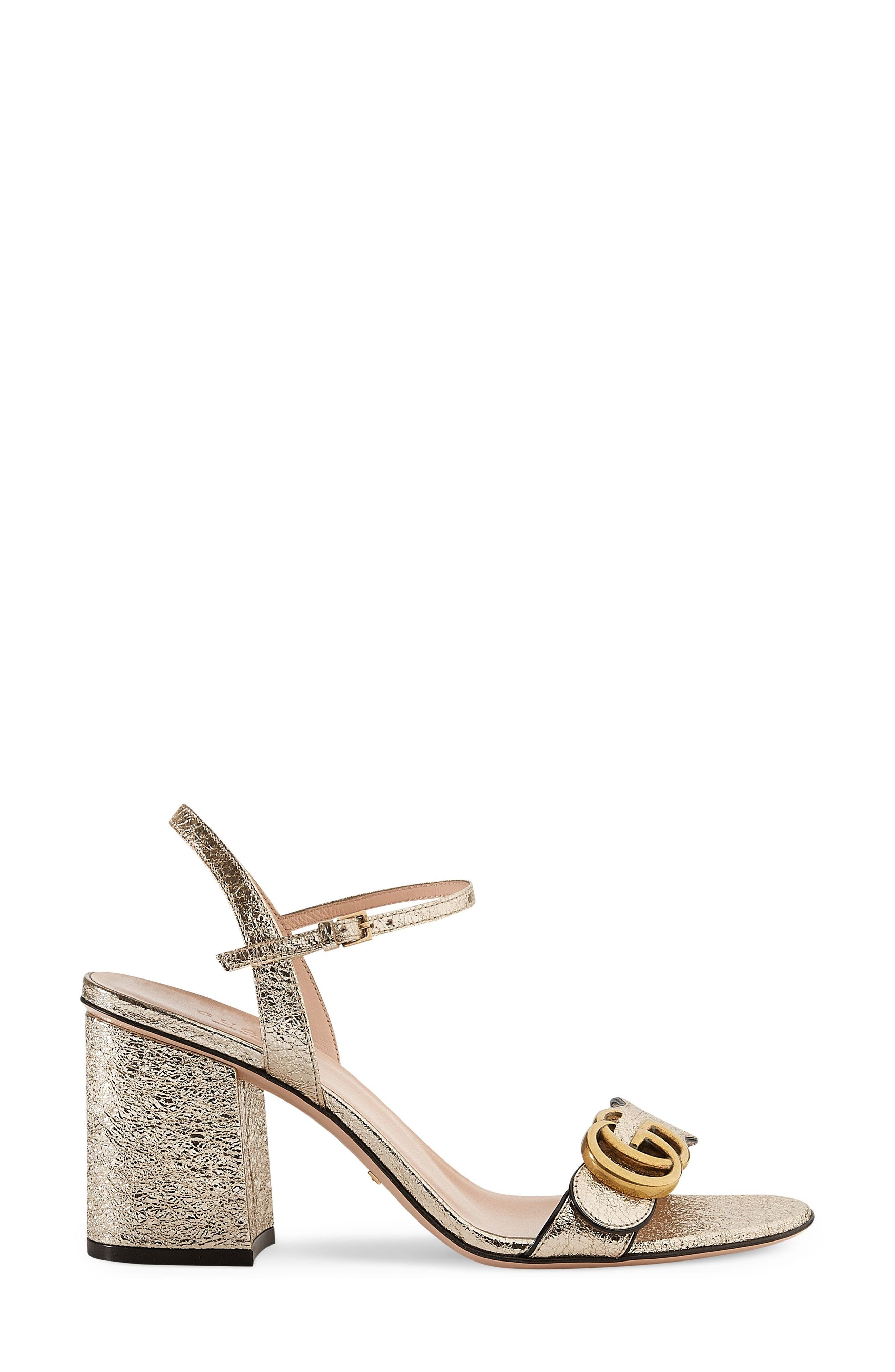 GG Marmont Sandal,                             Main thumbnail 1, color,                             METALLIC GOLD