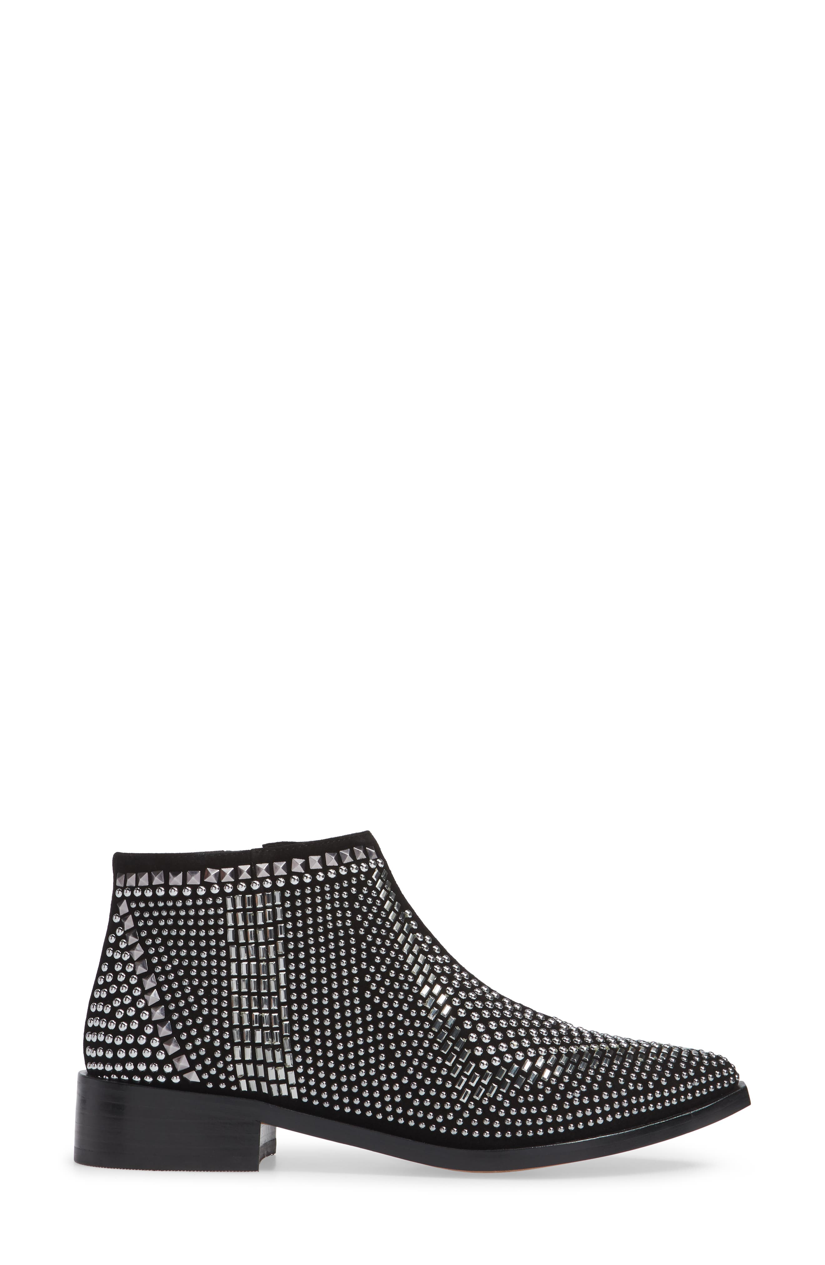 Bianka Studded Bootie,                             Alternate thumbnail 3, color,                             BLACK SUEDE