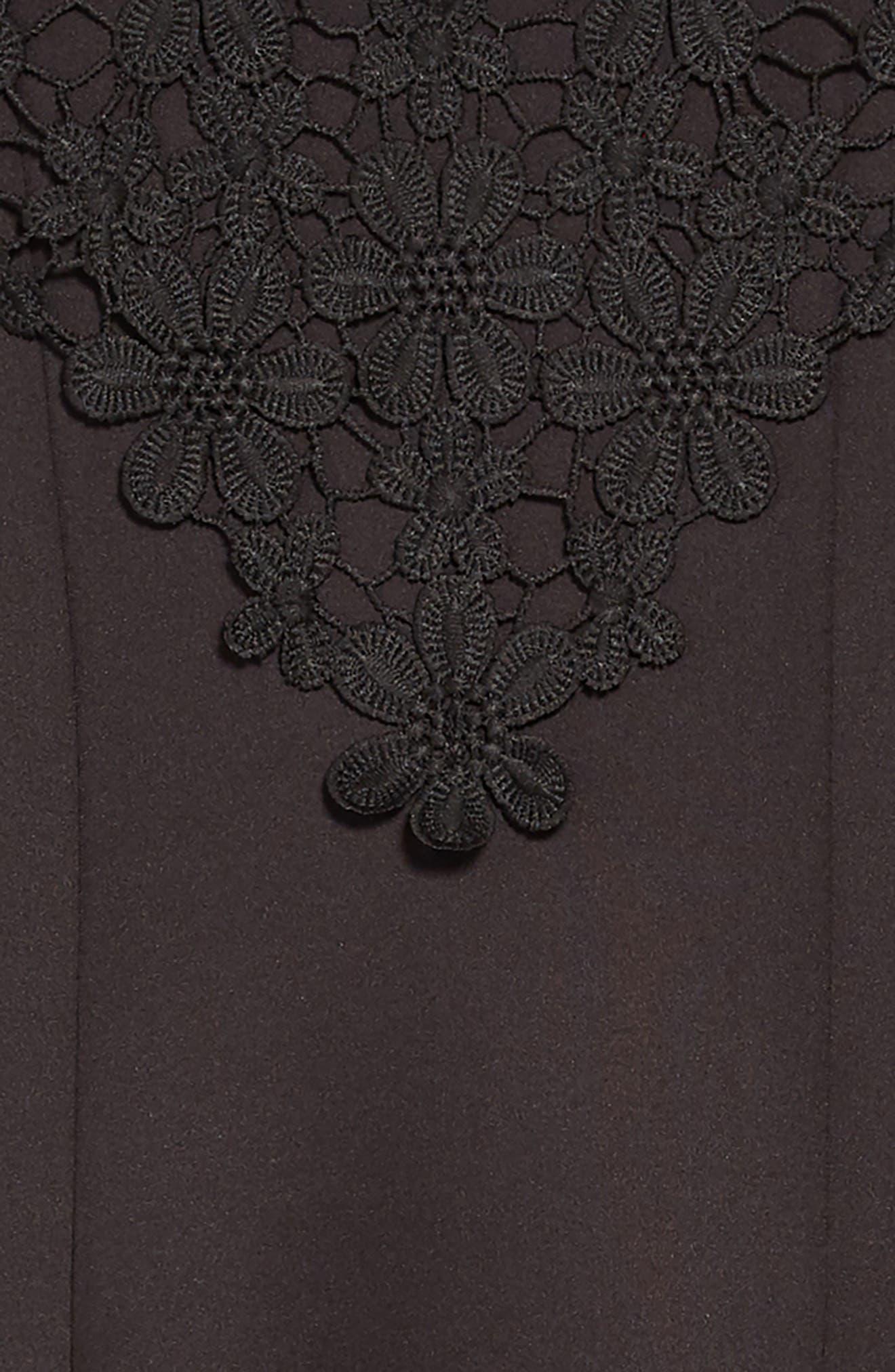 Floral Lace Skater Dress,                             Alternate thumbnail 3, color,                             BLACK