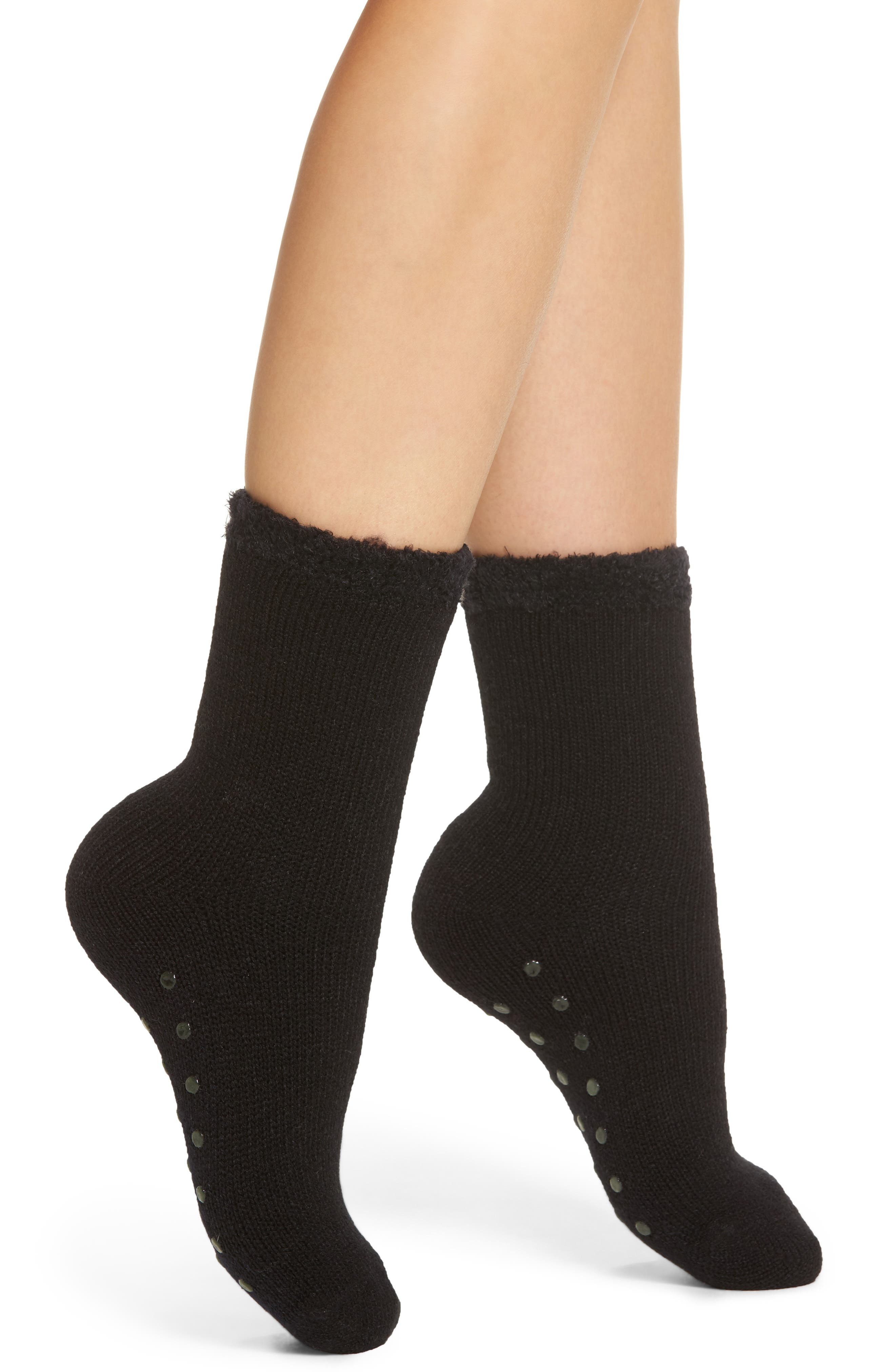 Butter Cuff Socks,                             Main thumbnail 1, color,                             BLACK