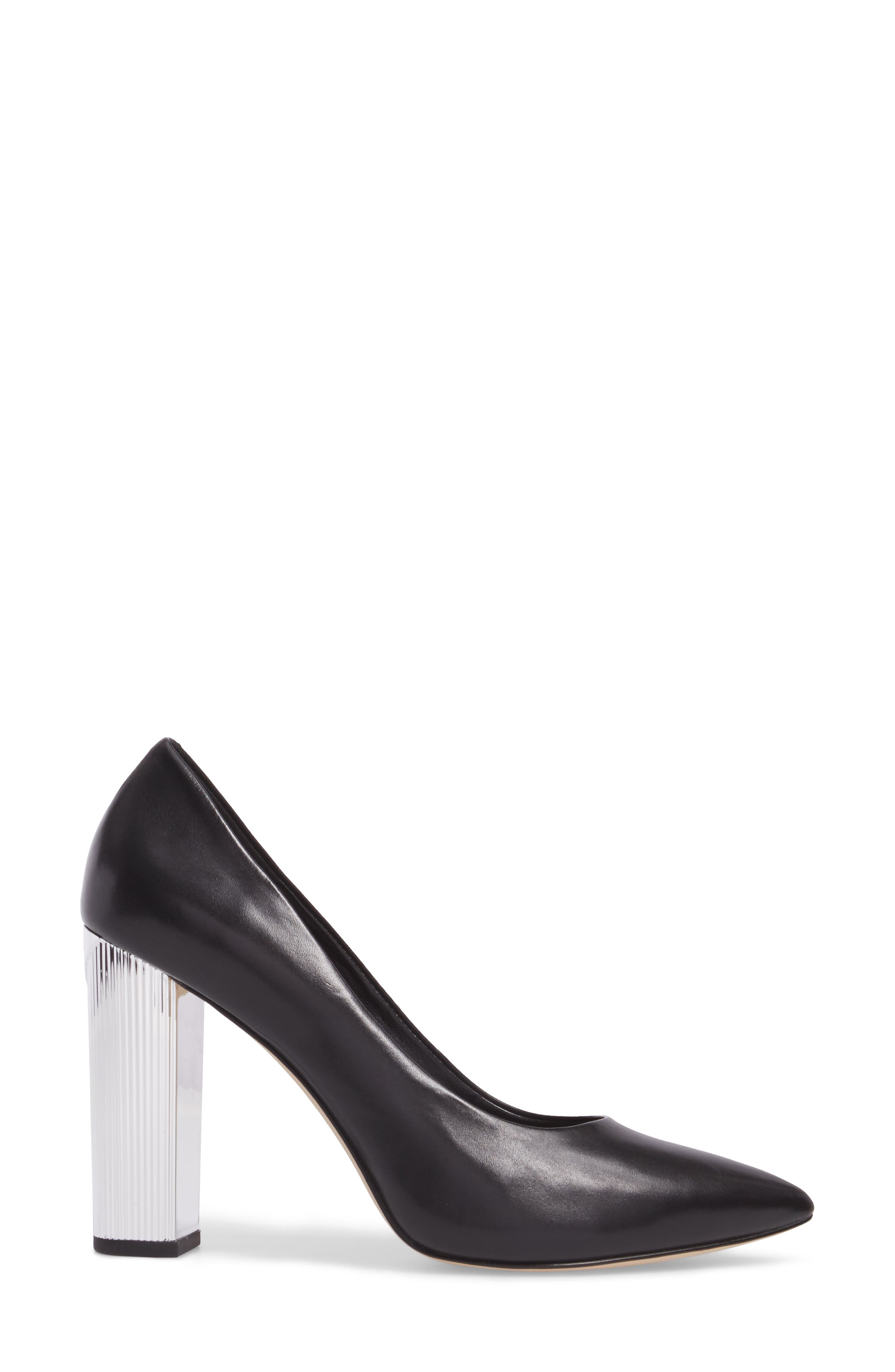 Paloma Metallic Heel Pump,                             Alternate thumbnail 3, color,                             001