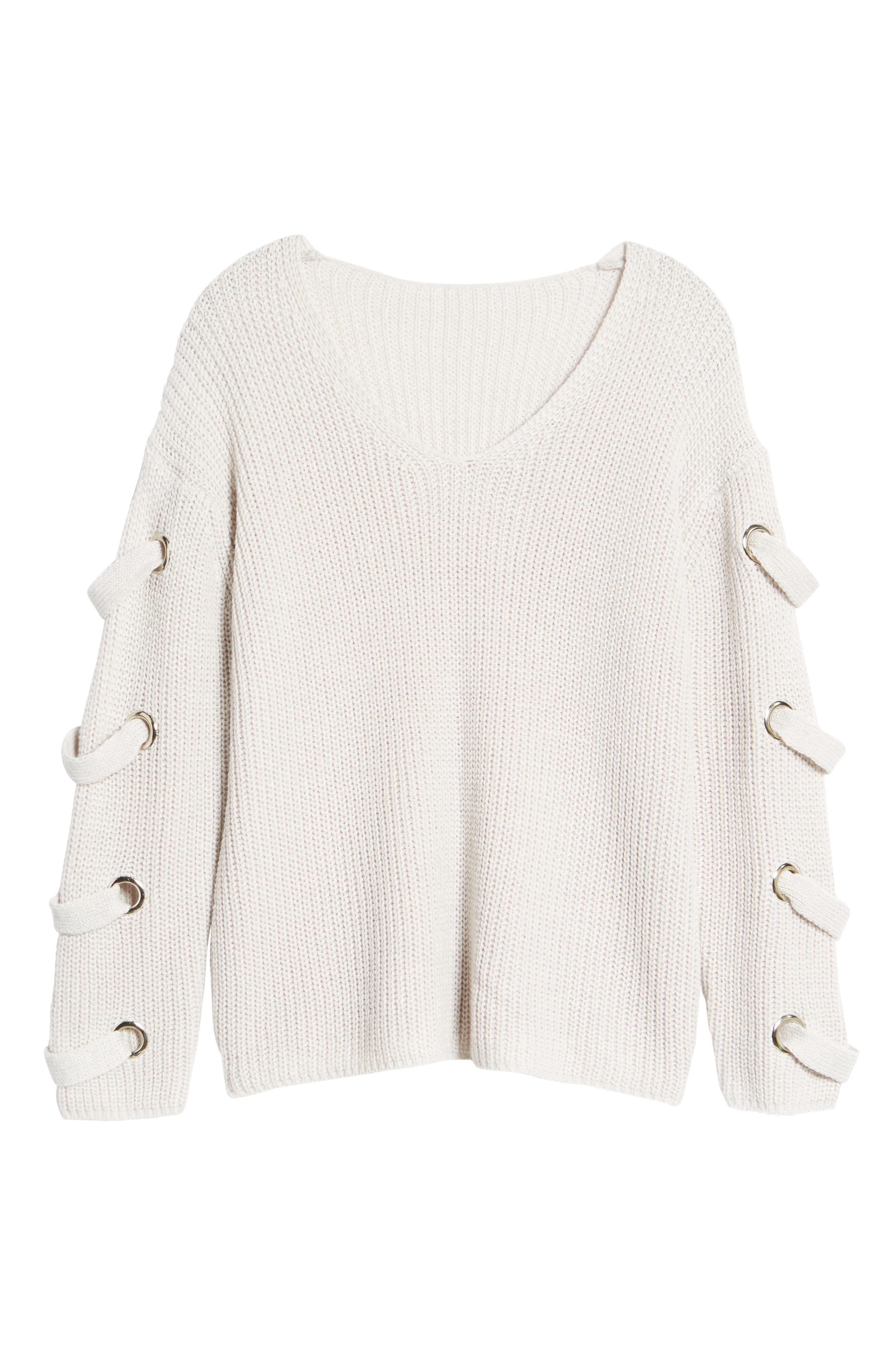 Grommet Sleeve Sweater,                             Alternate thumbnail 6, color,                             050