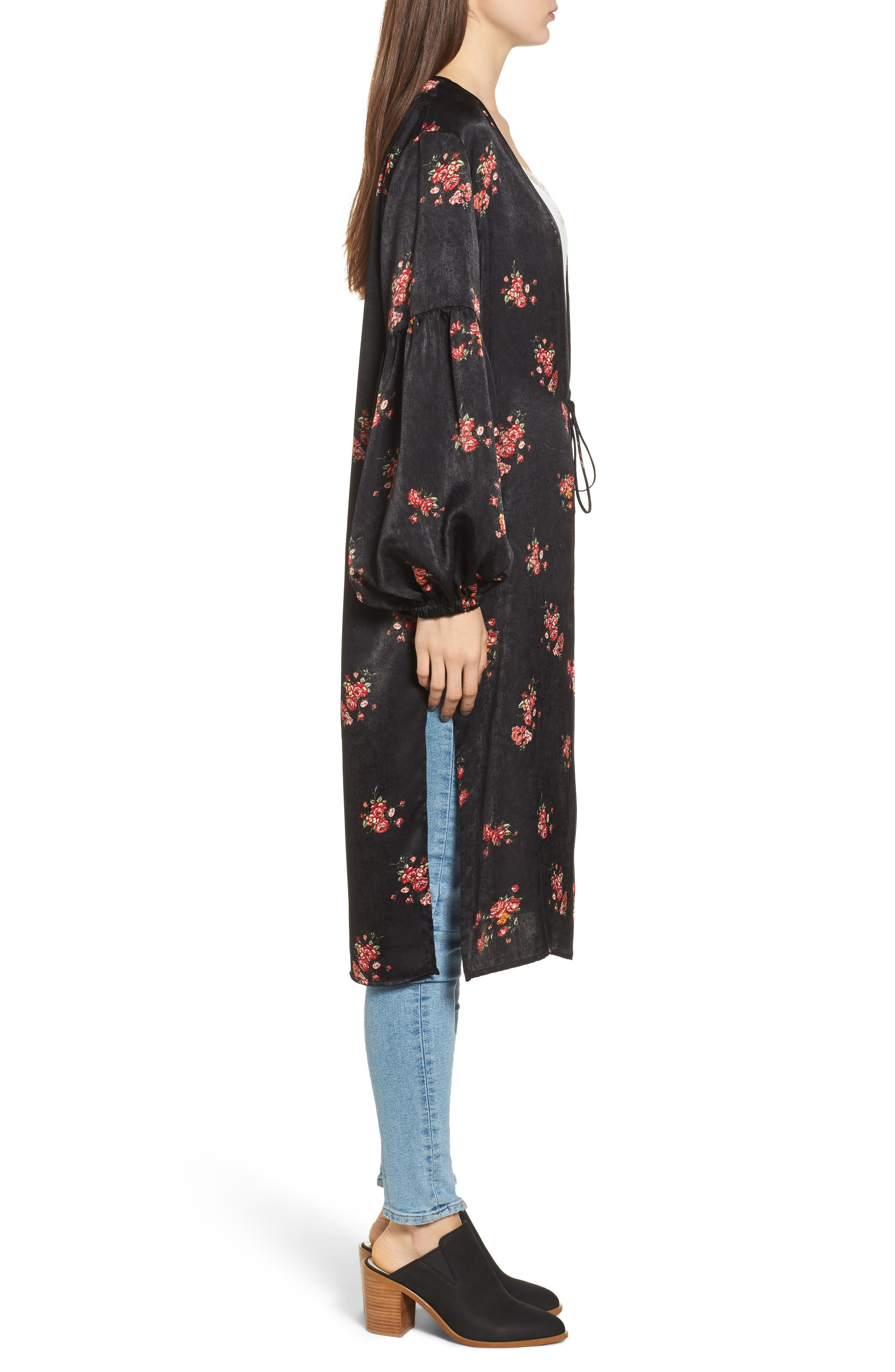 Tie Front Floral Print Duster,                             Alternate thumbnail 3, color,                             001