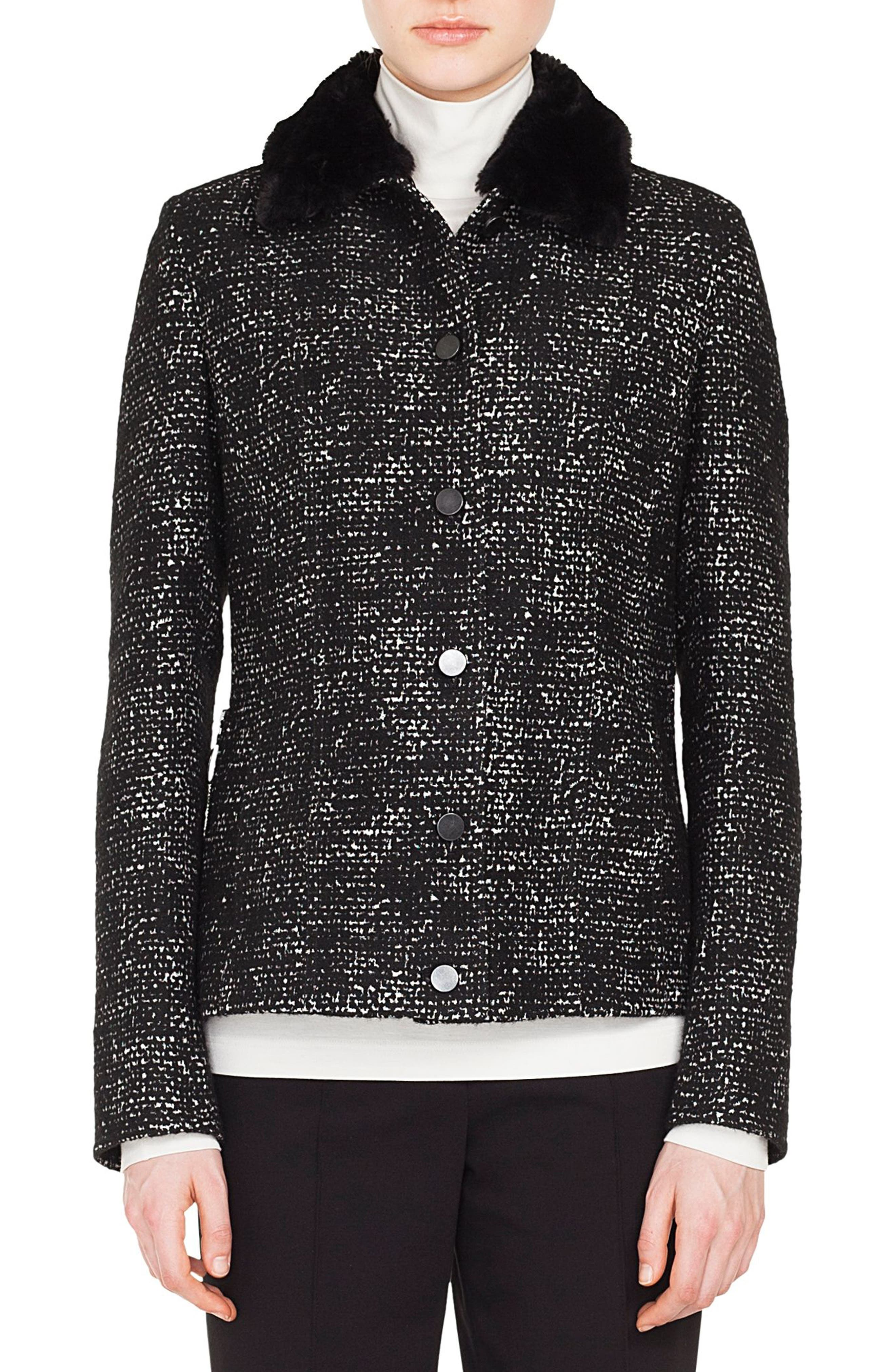 Tweed Jacket with Detachable Faux Fur Collar,                         Main,                         color, BLACK/ CREAM